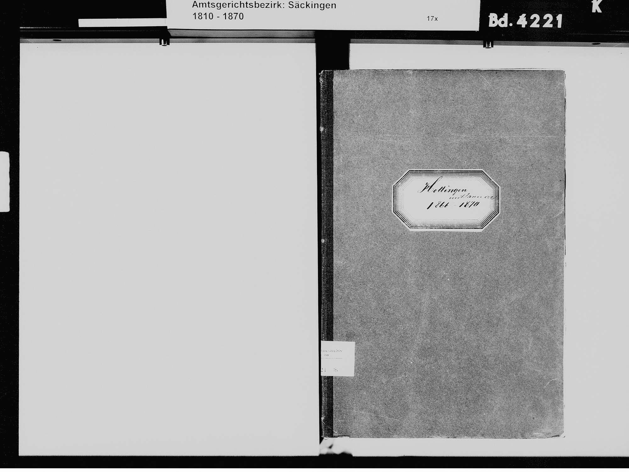 Hottingen, Rickenbach WT; Katholische Gemeinde: Heiratsbuch 1866-1870, Bild 3