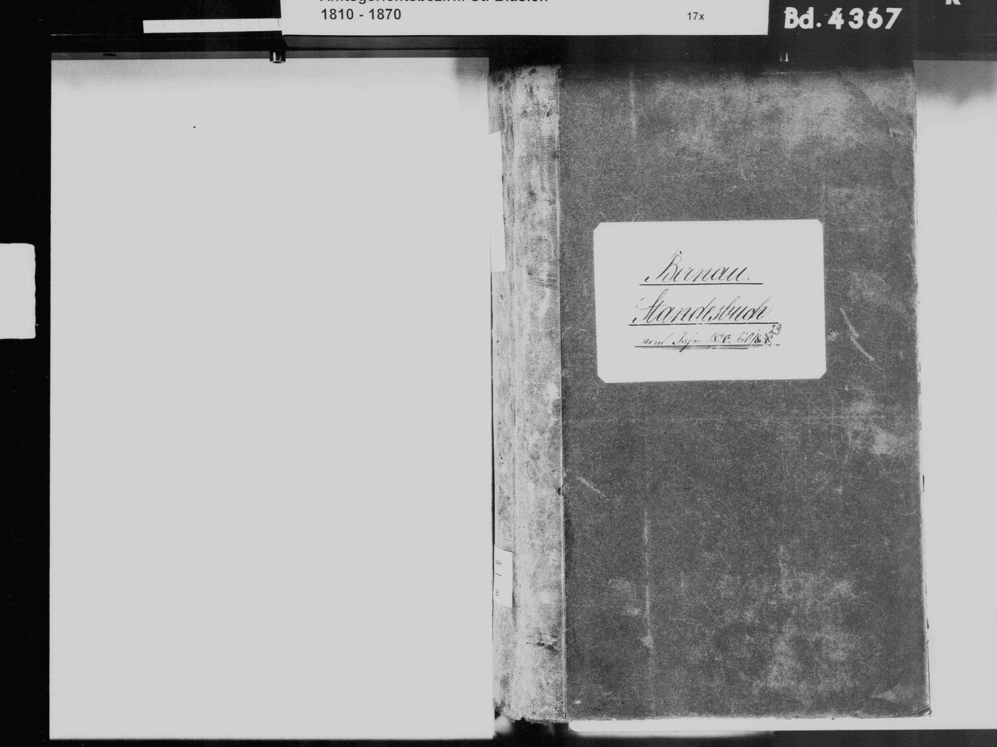 Bernau WT; Katholische Gemeinde: Standesbuch 1820-1829, Bild 3