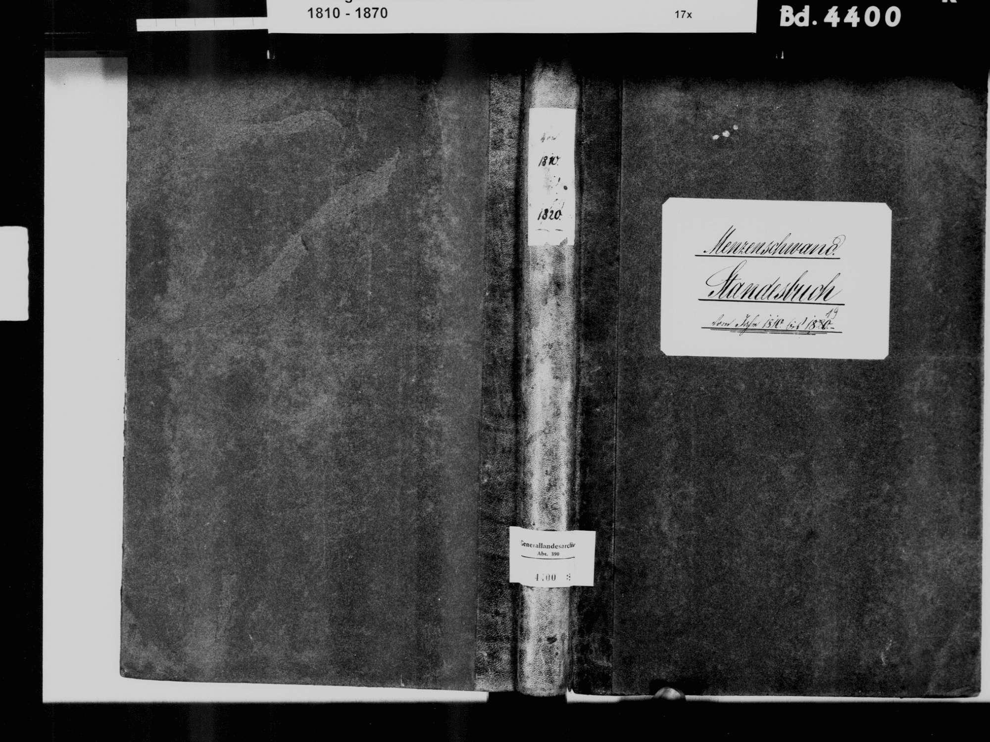 Menzenschwand, St. Blasien WT; Katholische Gemeinde: Standesbuch 1810-1819, Bild 2