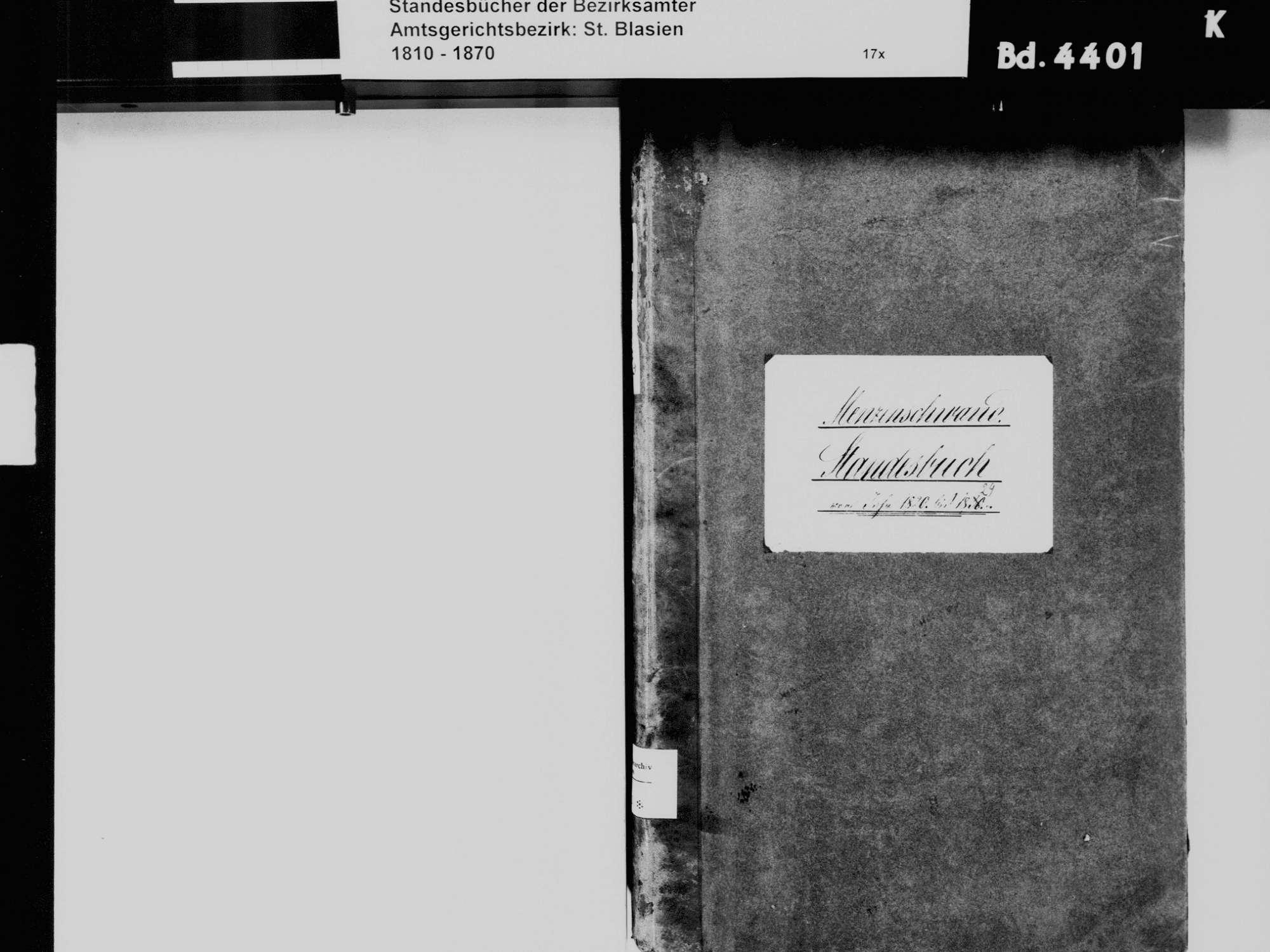 Menzenschwand, St. Blasien WT; Katholische Gemeinde: Standesbuch 1820-1829, Bild 3
