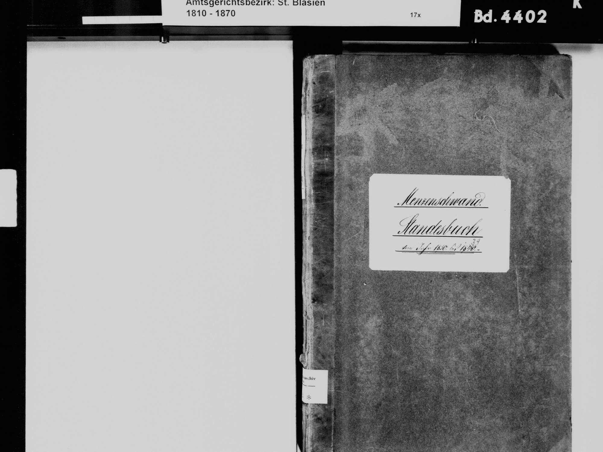 Menzenschwand, St. Blasien WT; Katholische Gemeinde: Standesbuch 1830-1839, Bild 3