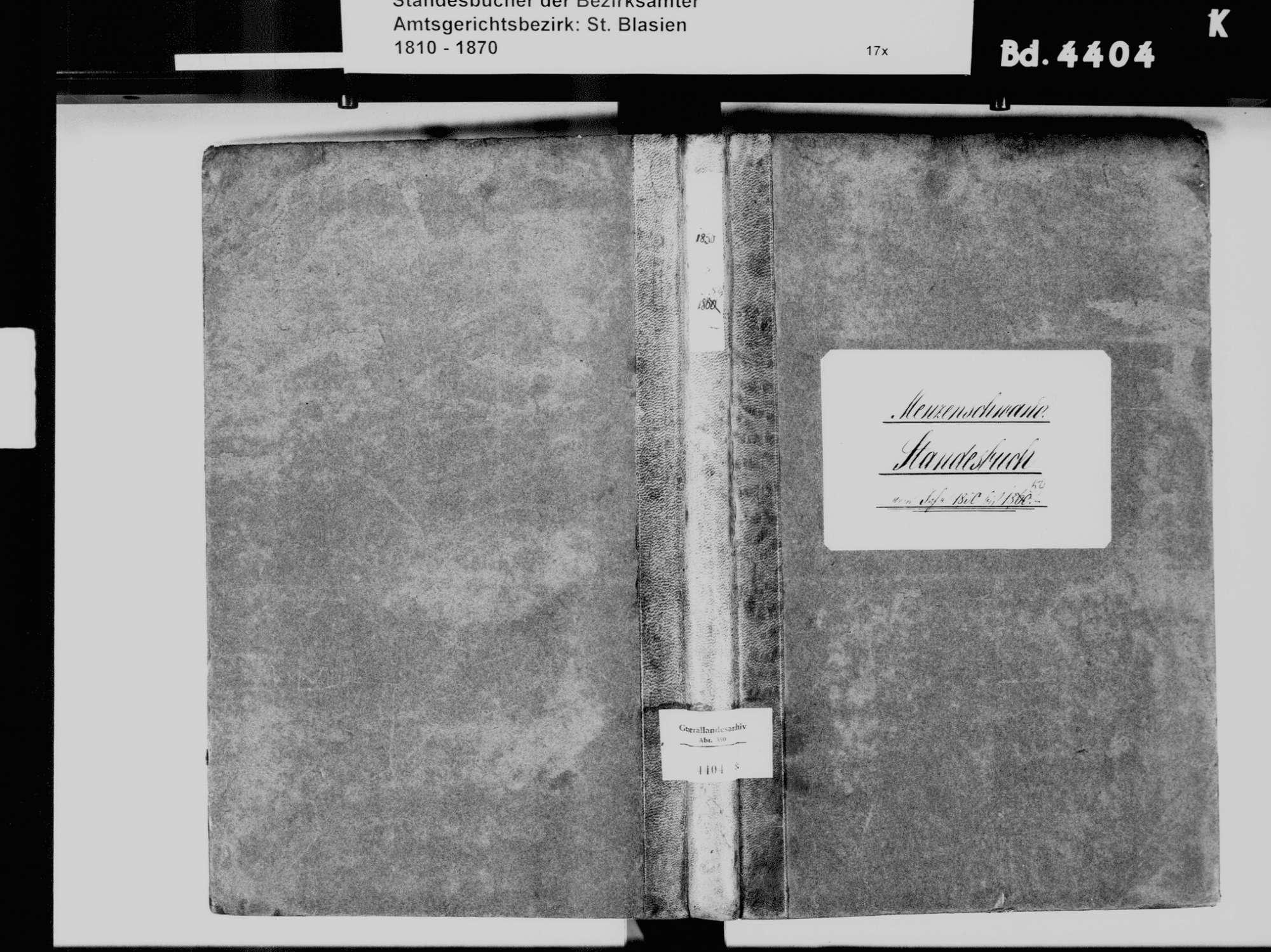 Menzenschwand, St. Blasien WT; Katholische Gemeinde: Standesbuch 1850-1859, Bild 2