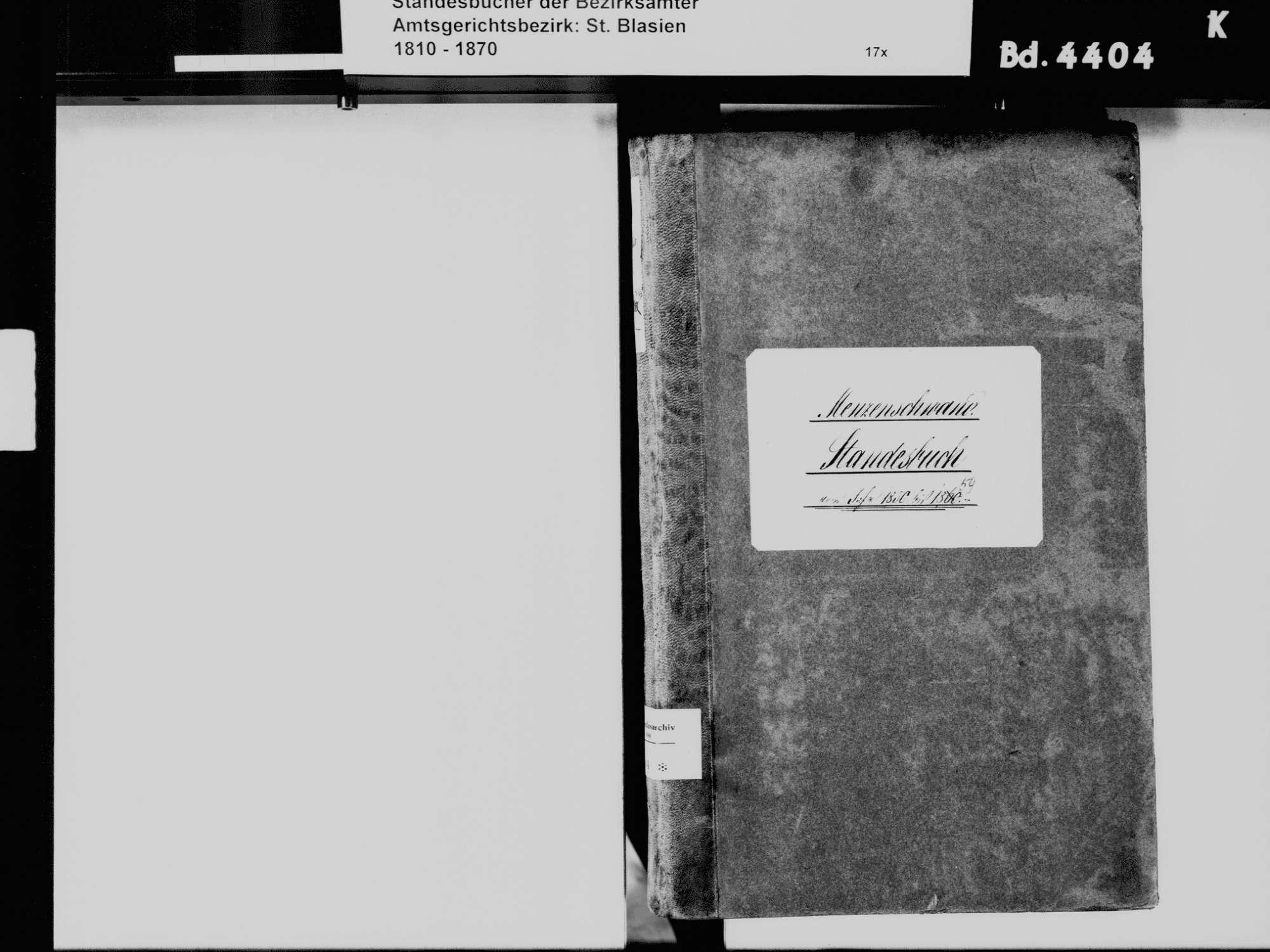 Menzenschwand, St. Blasien WT; Katholische Gemeinde: Standesbuch 1850-1859, Bild 3