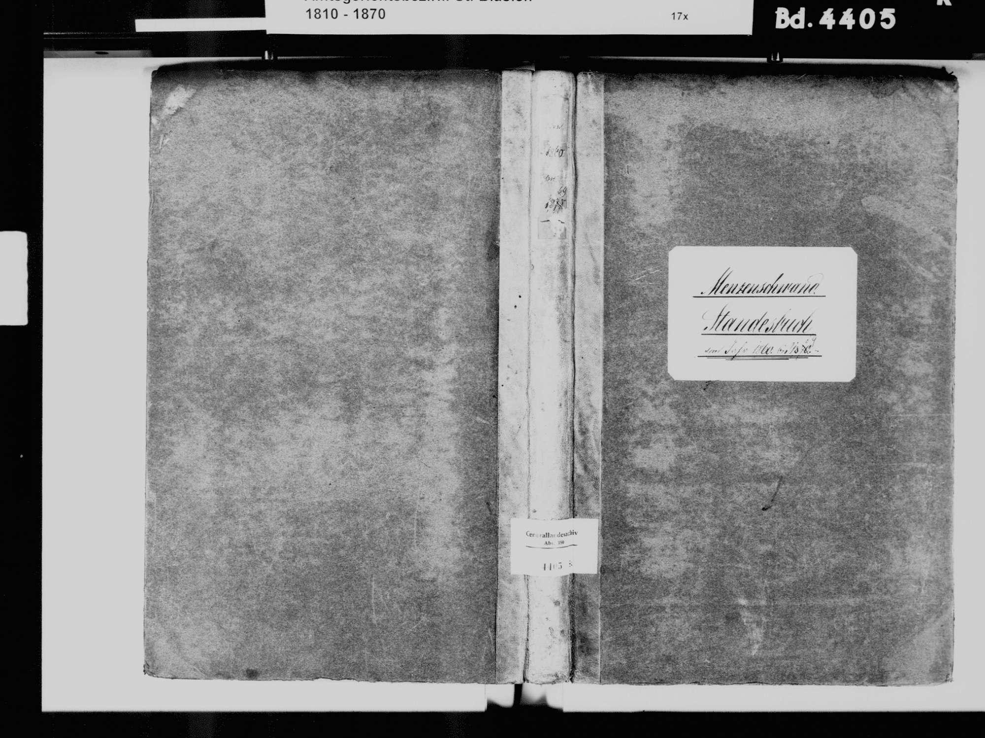 Menzenschwand, St. Blasien WT; Katholische Gemeinde: Standesbuch 1860-1869, Bild 2