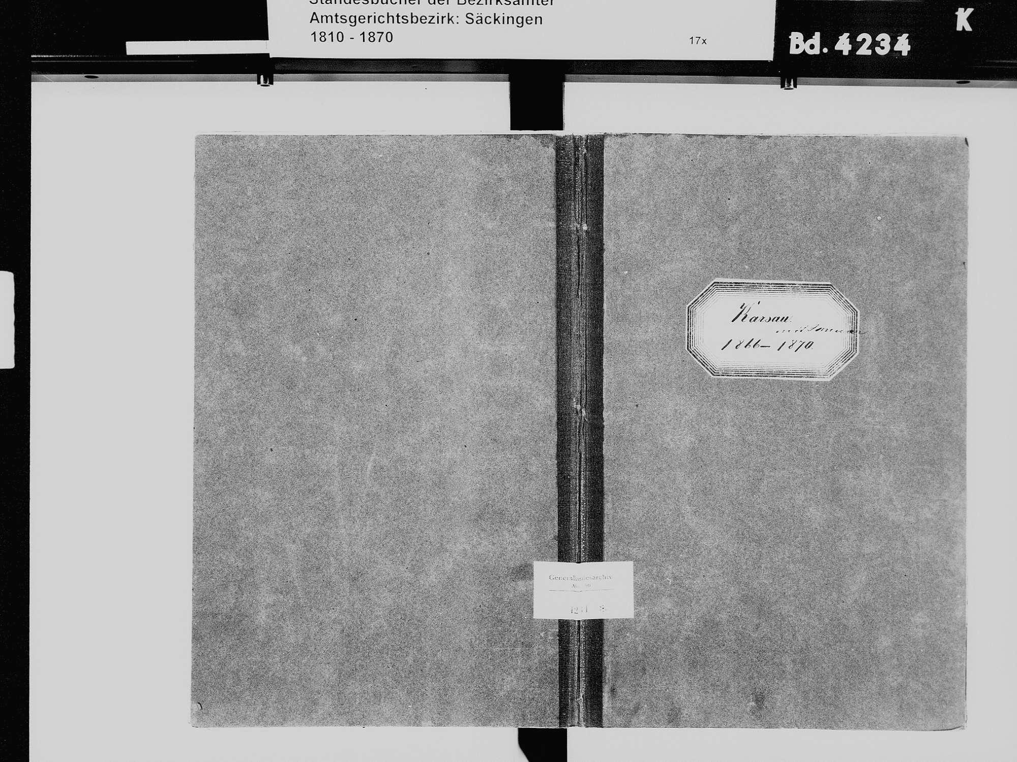 Karsau, Rheinfelden (Baden) LÖ; Katholische Gemeinde: Heiratsbuch 1866-1870, Bild 2
