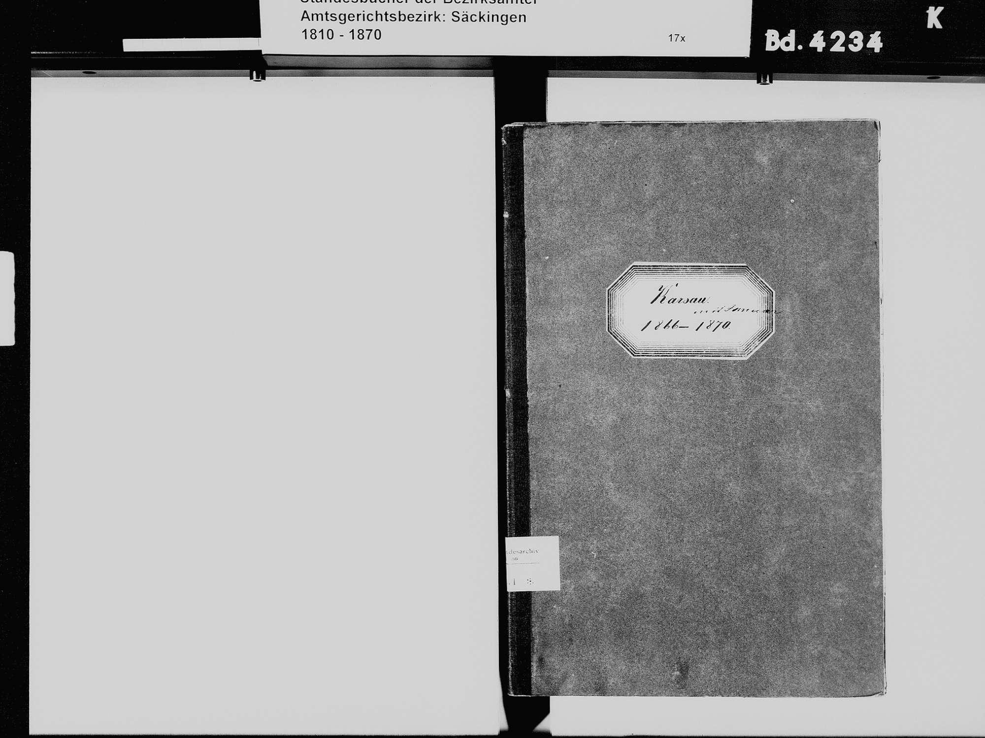 Karsau, Rheinfelden (Baden) LÖ; Katholische Gemeinde: Heiratsbuch 1866-1870, Bild 3