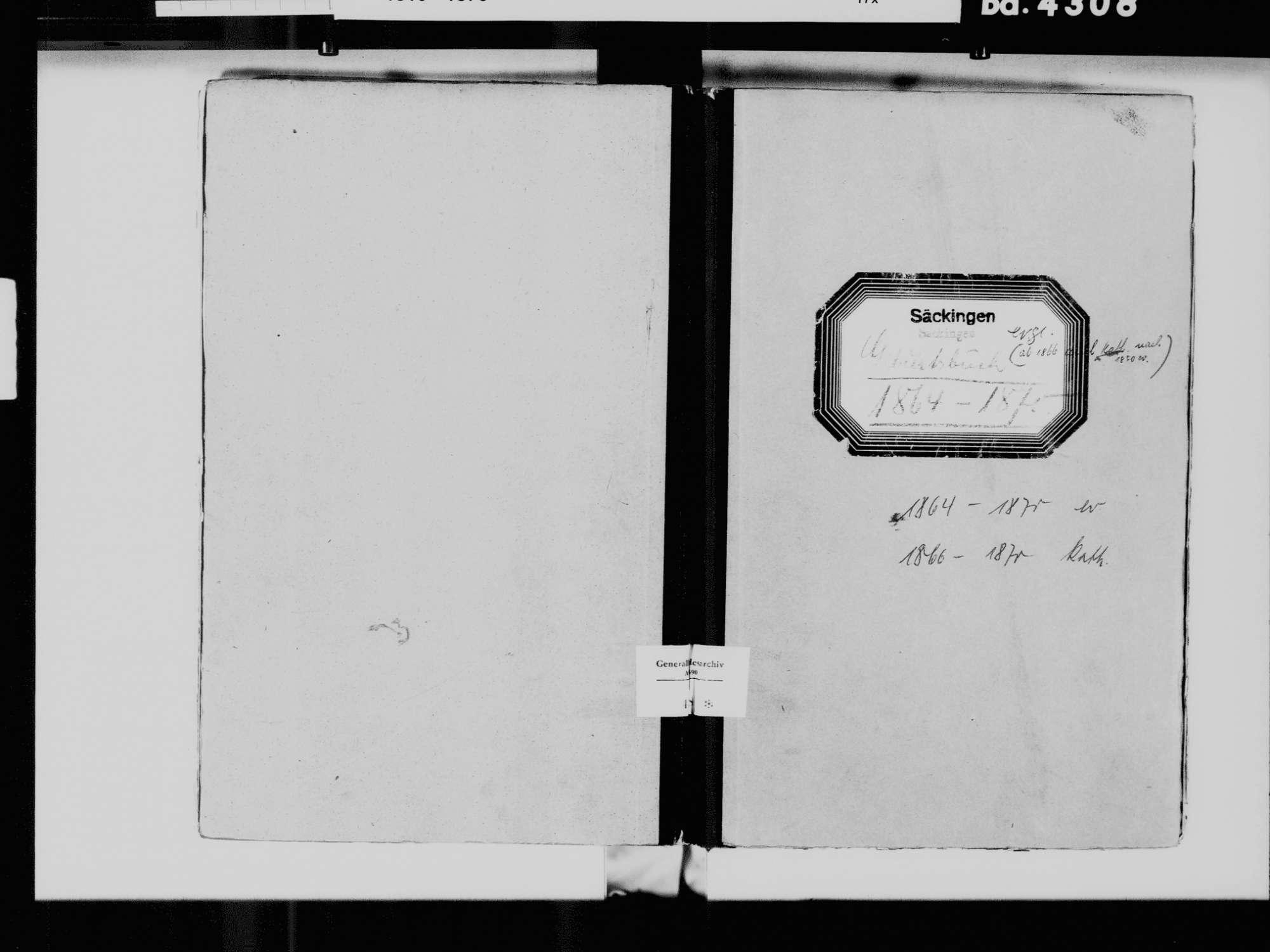 Säckingen, Bad Säckingen WT; Evangelische Gemeinde: Geburtenbuch 1864-1870 Säckingen, Bad Säckingen WT; Katholische Gemeinde: Geburtenbuch 1866-1870, Bild 2