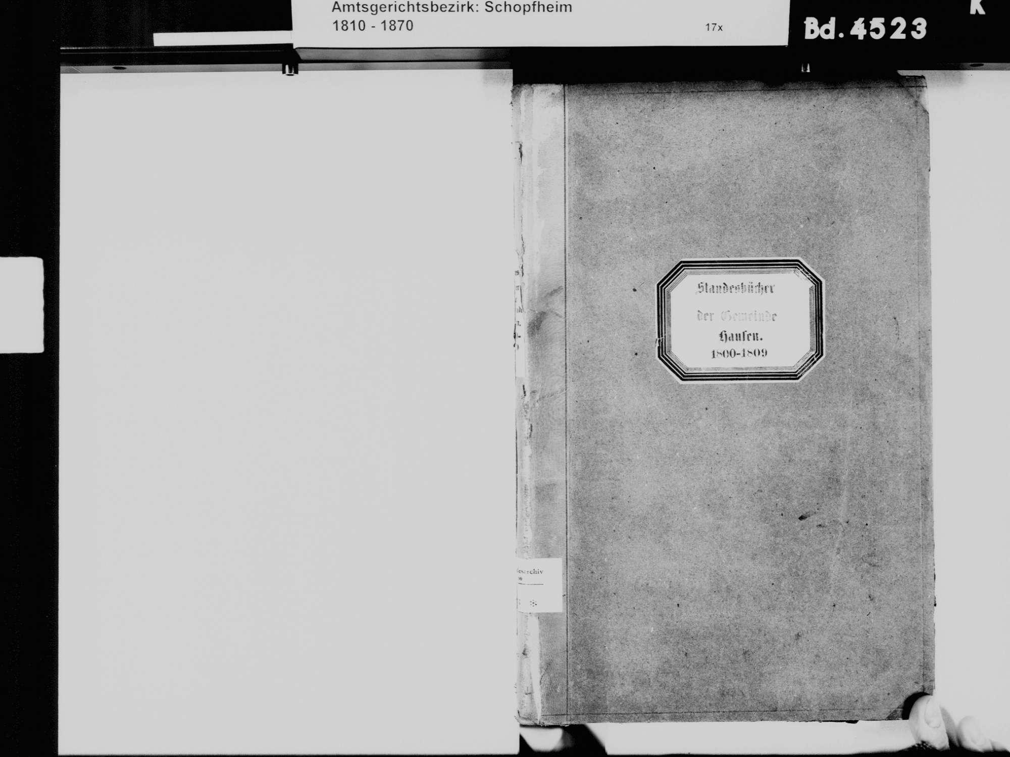 Hausen im Wiesental LÖ; Evangelische Gemeinde: Standesbuch 1800-1810, Bild 3
