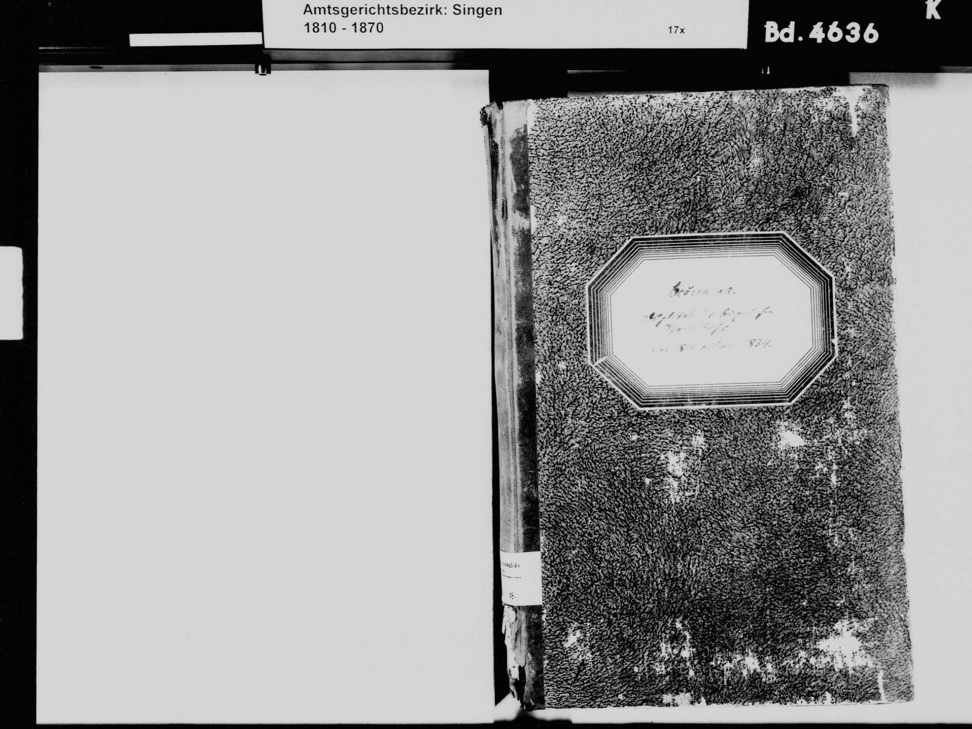 Beuren an der Aach, Singen (Hohentwiel) KN; Katholische Gemeinde: Standesbuch 1811-1834, Bild 3
