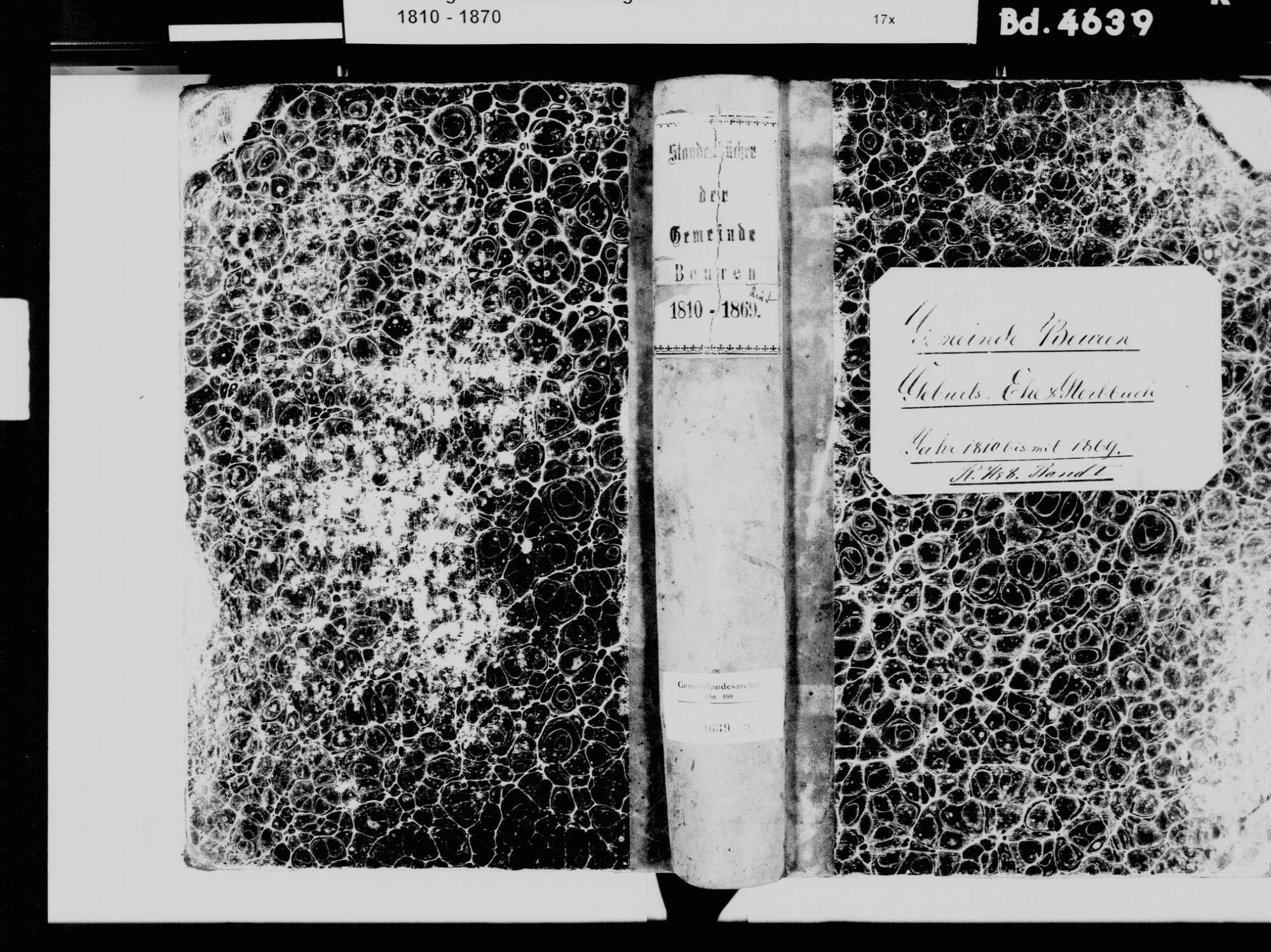 Beuren am Ried, Tengen KN; Katholische Gemeinde: Standesbuch 1810-1869, Bild 2