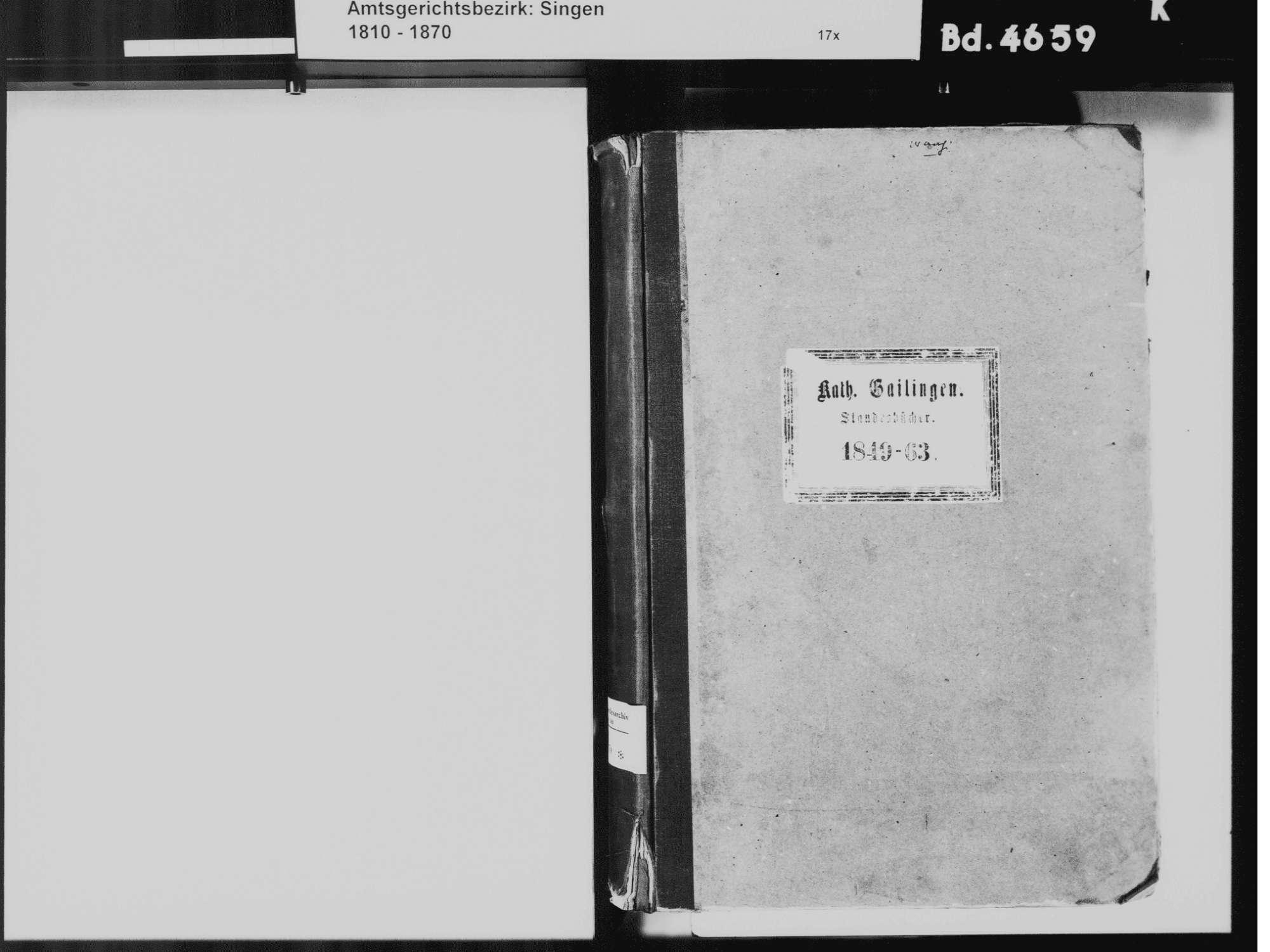 Gailingen KN; Katholische Gemeinde: Standesbuch 1849-1863, Bild 3