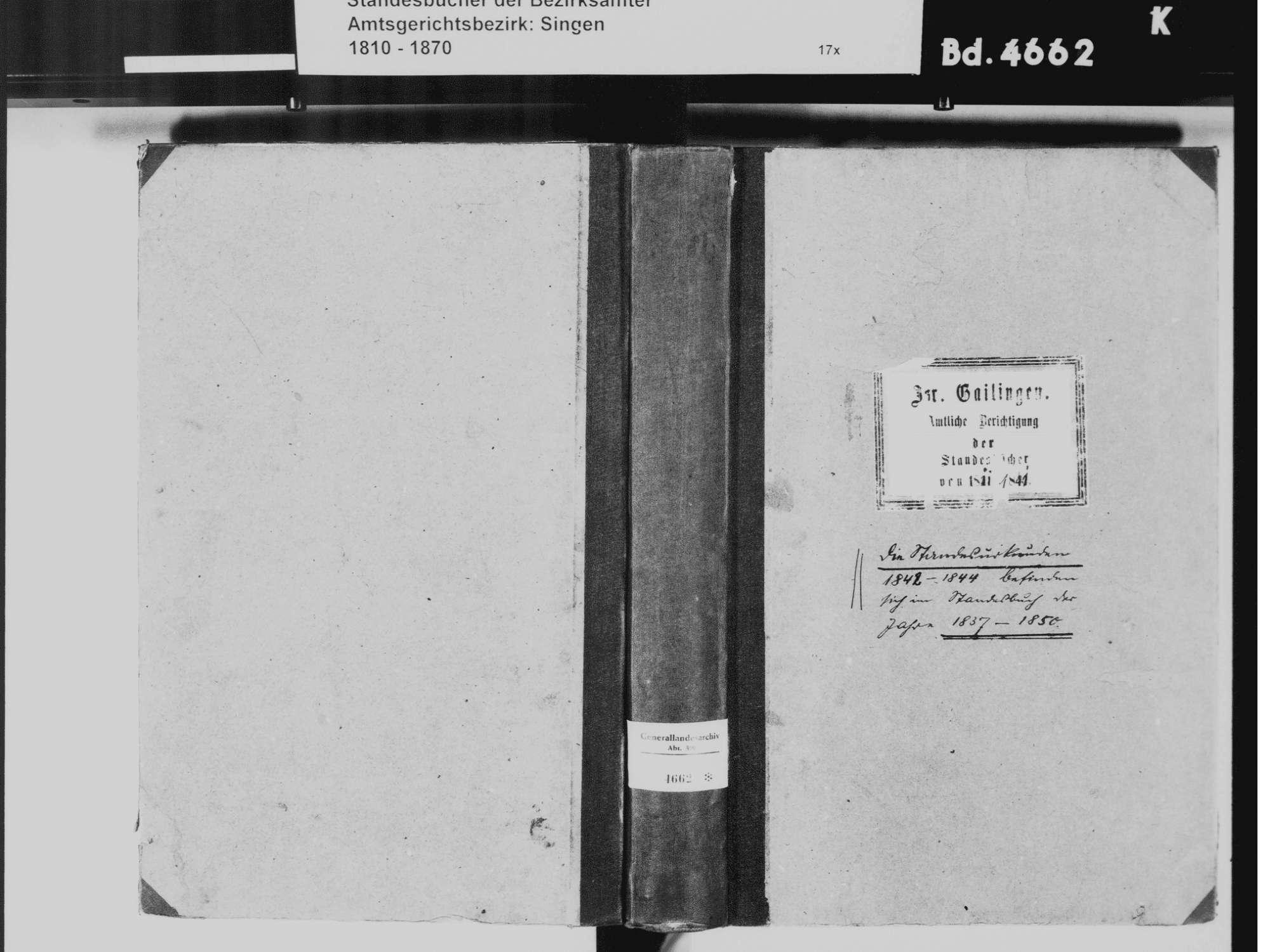 Gailingen KN; Israelitische Gemeinde: Standesbuch 1811-1841 [amtliche Berichtigungen], Bild 2