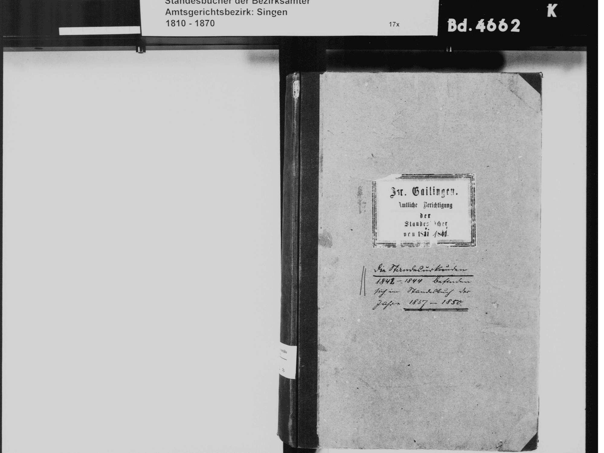 Gailingen KN; Israelitische Gemeinde: Standesbuch 1811-1841 [amtliche Berichtigungen], Bild 3