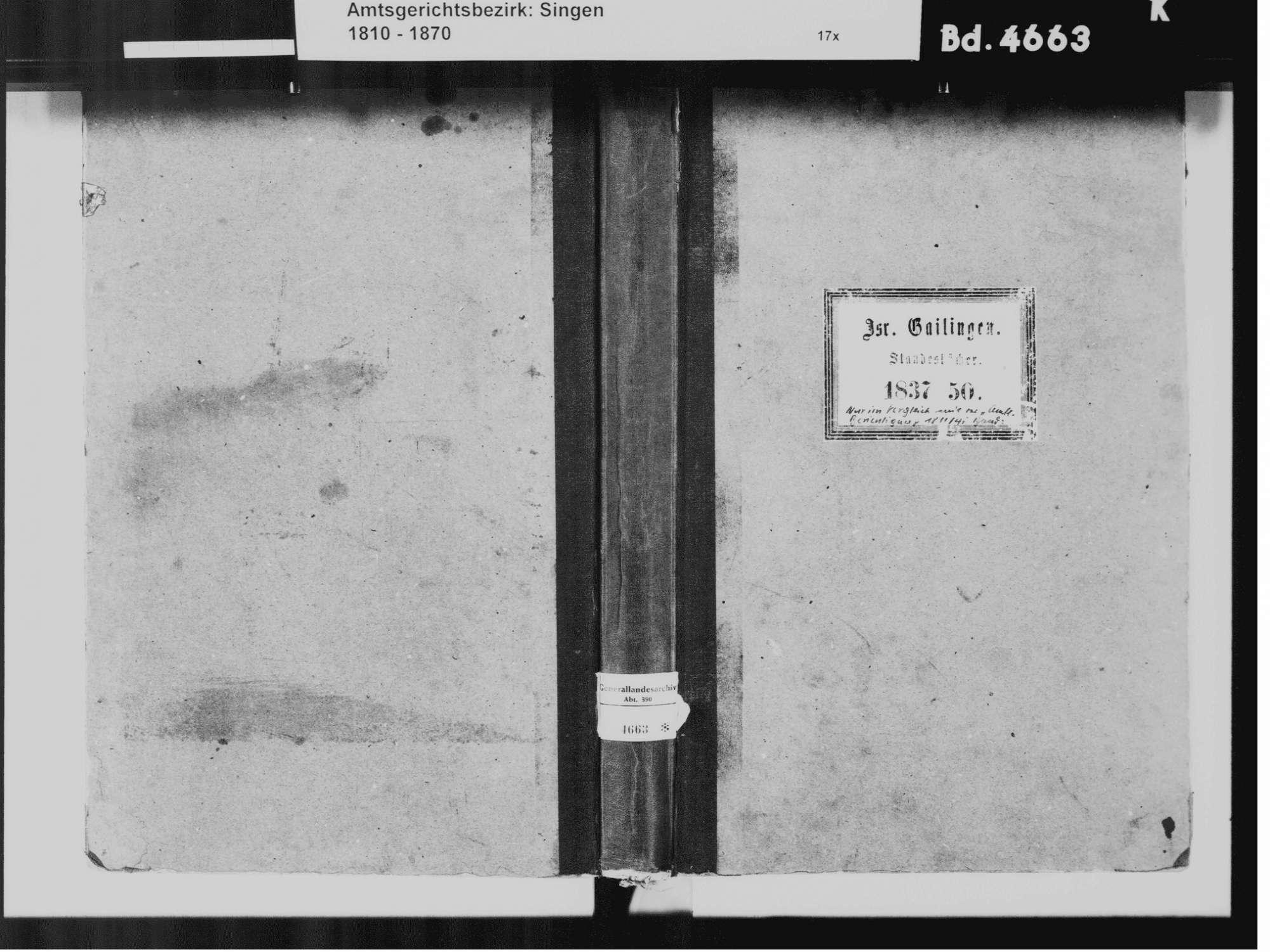 Gailingen KN; Israelitische Gemeinde: Standesbuch 1837-1850, Bild 2