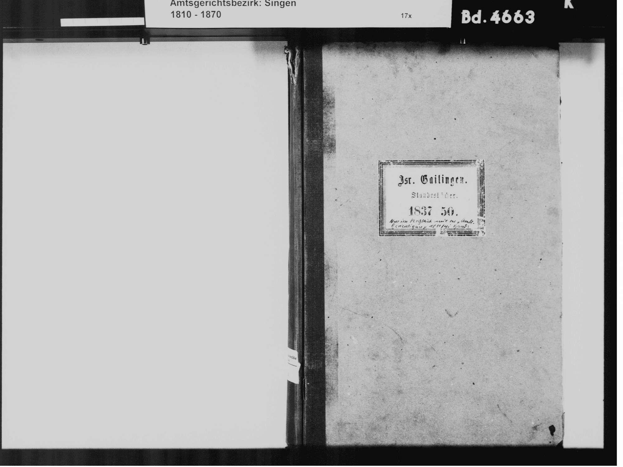 Gailingen KN; Israelitische Gemeinde: Standesbuch 1837-1850, Bild 3
