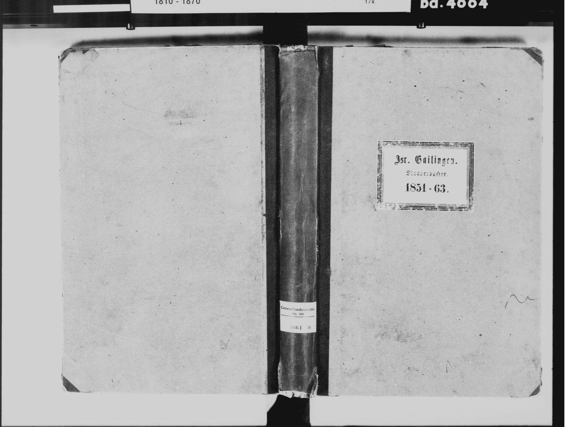 Gailingen KN; Israelitische Gemeinde: Standesbuch 1851-1863, Bild 2
