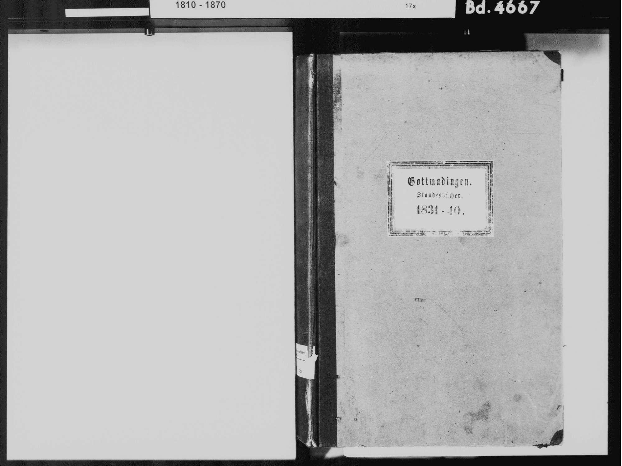 Gottmadingen KN; Katholische Gemeinde: Standesbuch 1831-1840, Bild 3