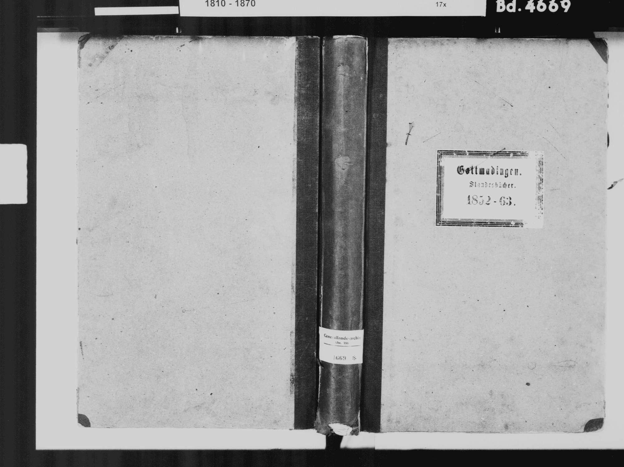 Gottmadingen KN; Katholische Gemeinde: Standesbuch 1852-1863, Bild 2
