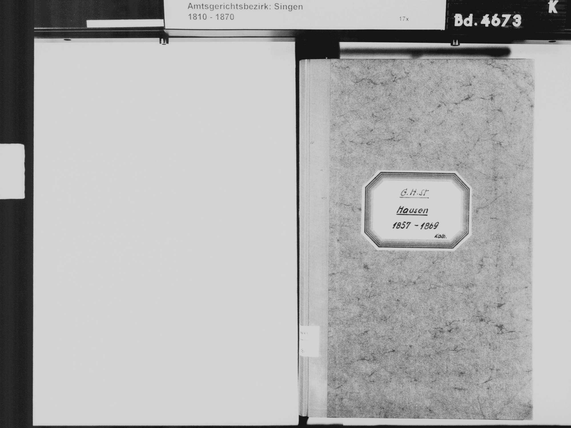 Hausen an der Aach, Singen (Hohentwiel) KN; Katholische Gemeinde: Standesbuch 1857-1869, Bild 3