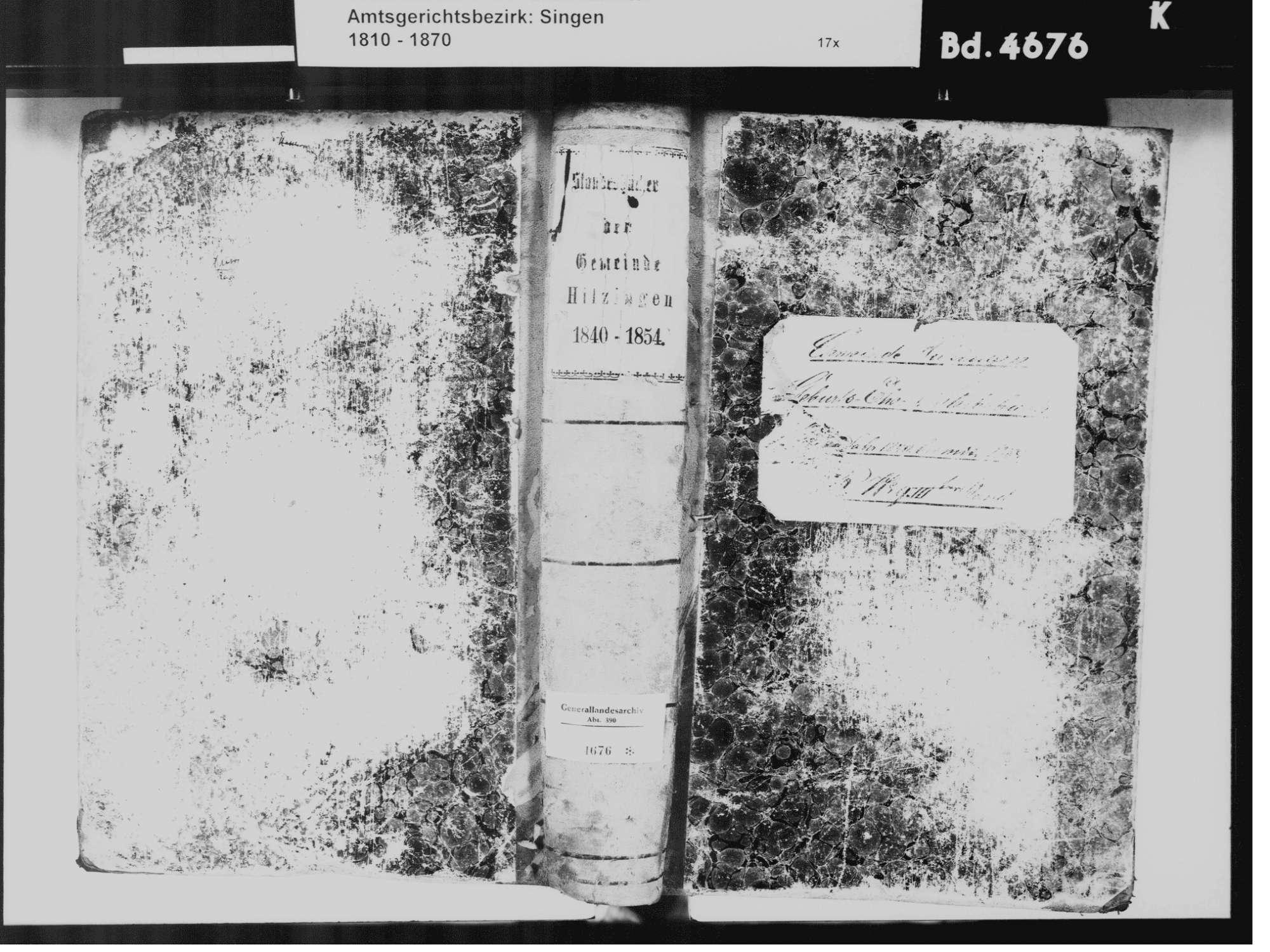 Hilzingen KN; Katholiche Gemeinde: Standesbuch 1840-1854, Bild 2