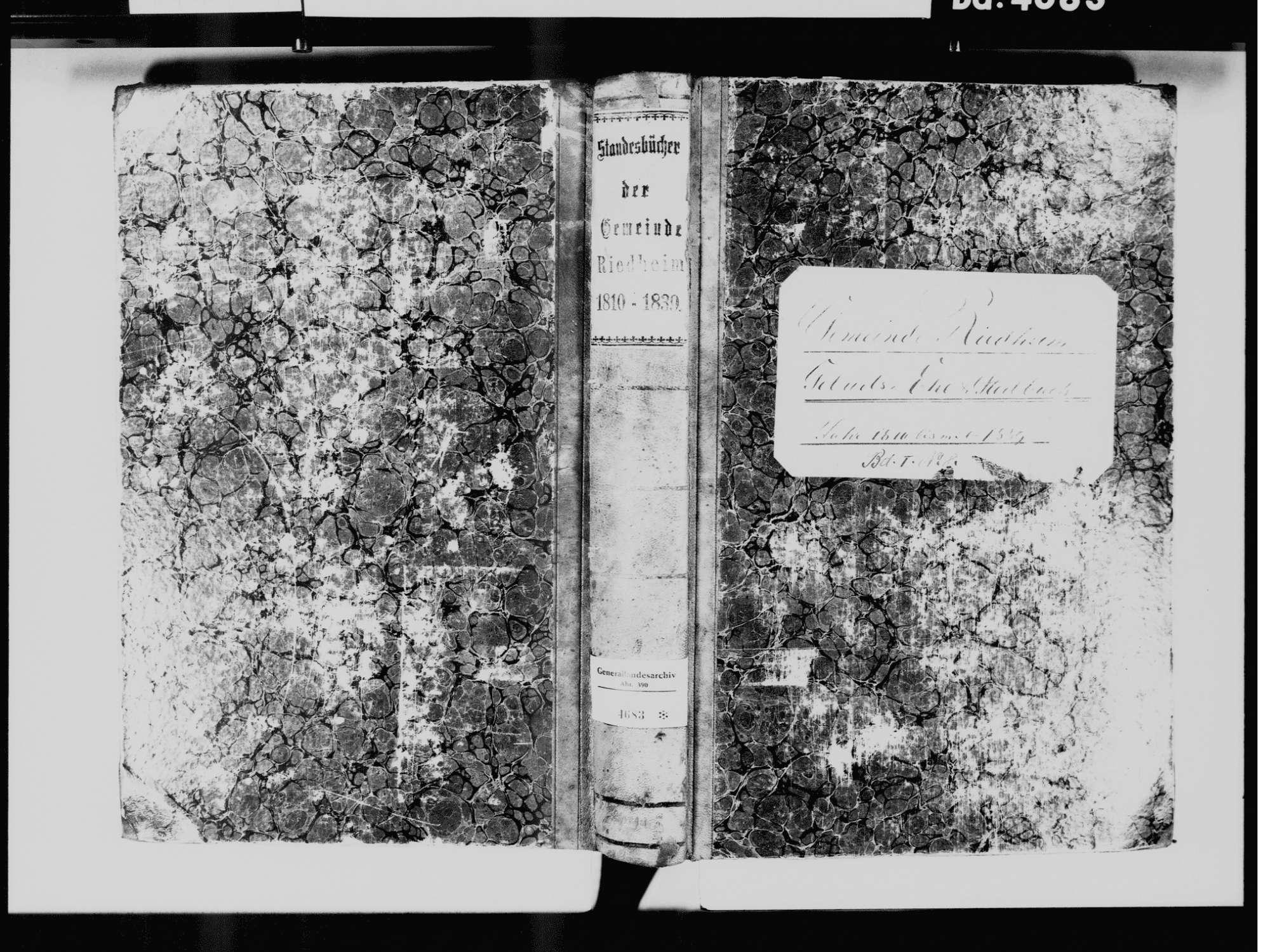 Riedheim, Hilzingen KN; Katholische Gemeinde: Standesbuch 1810-1839, Bild 2
