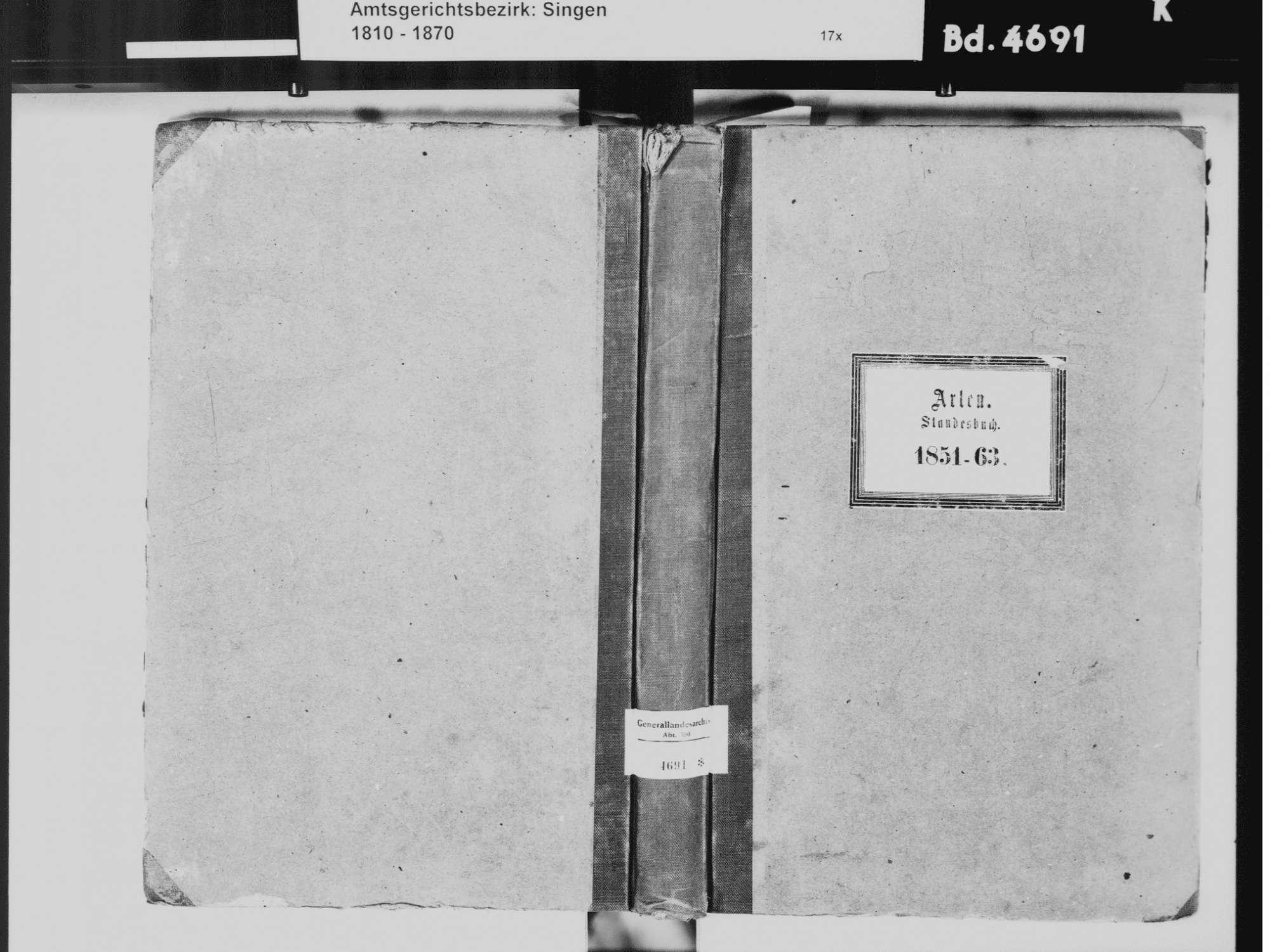Arlen, aufgegangen in Rielasingen, Rielasingen-Worblingen KN; Katholische Gemeinde: Standesbuch 1851-1863, Bild 2