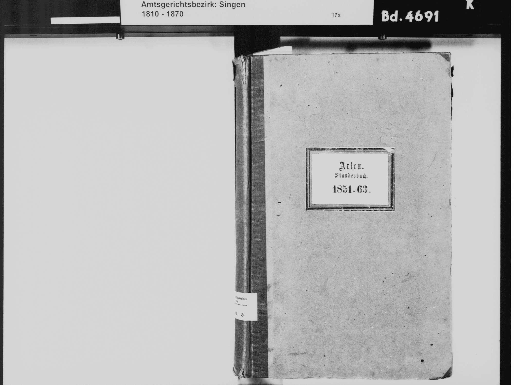 Arlen, aufgegangen in Rielasingen, Rielasingen-Worblingen KN; Katholische Gemeinde: Standesbuch 1851-1863, Bild 3