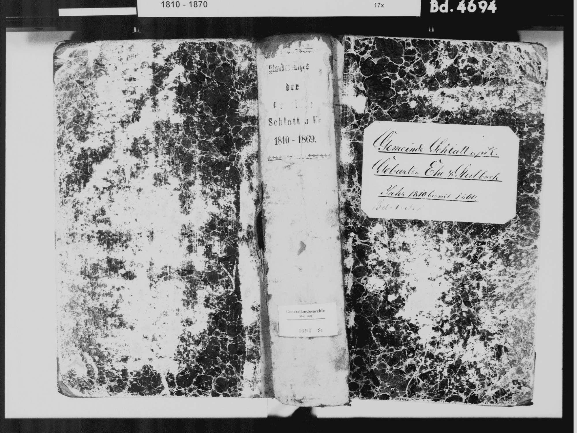 Schlatt unter Krähen, Singen (Hohentwiel) KN; Katholische Gemeinde: Standesbuch 1810-1869, Bild 2