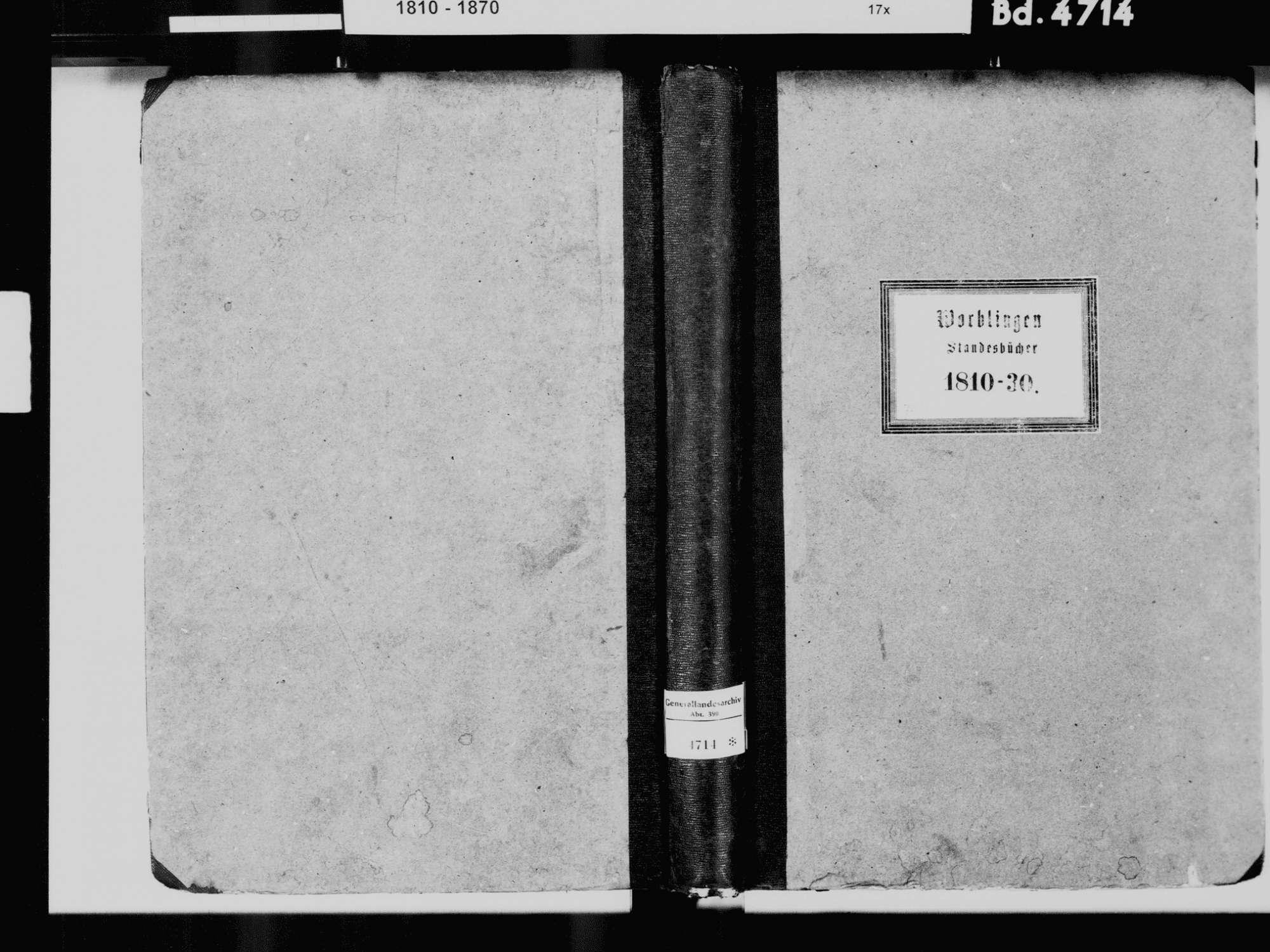 Worblingen, Rielasingen-Worblingen KN; Katholische Gemeinde: Standesbuch 1810-1830 Worblingen, Rielasingen-Worblingen KN; Israelitsche Gemeinde: Standesbuch 1781-1830 [besondere Liste über Geburten von 1781-1816 nach Jahrgang 1817], Bild 2