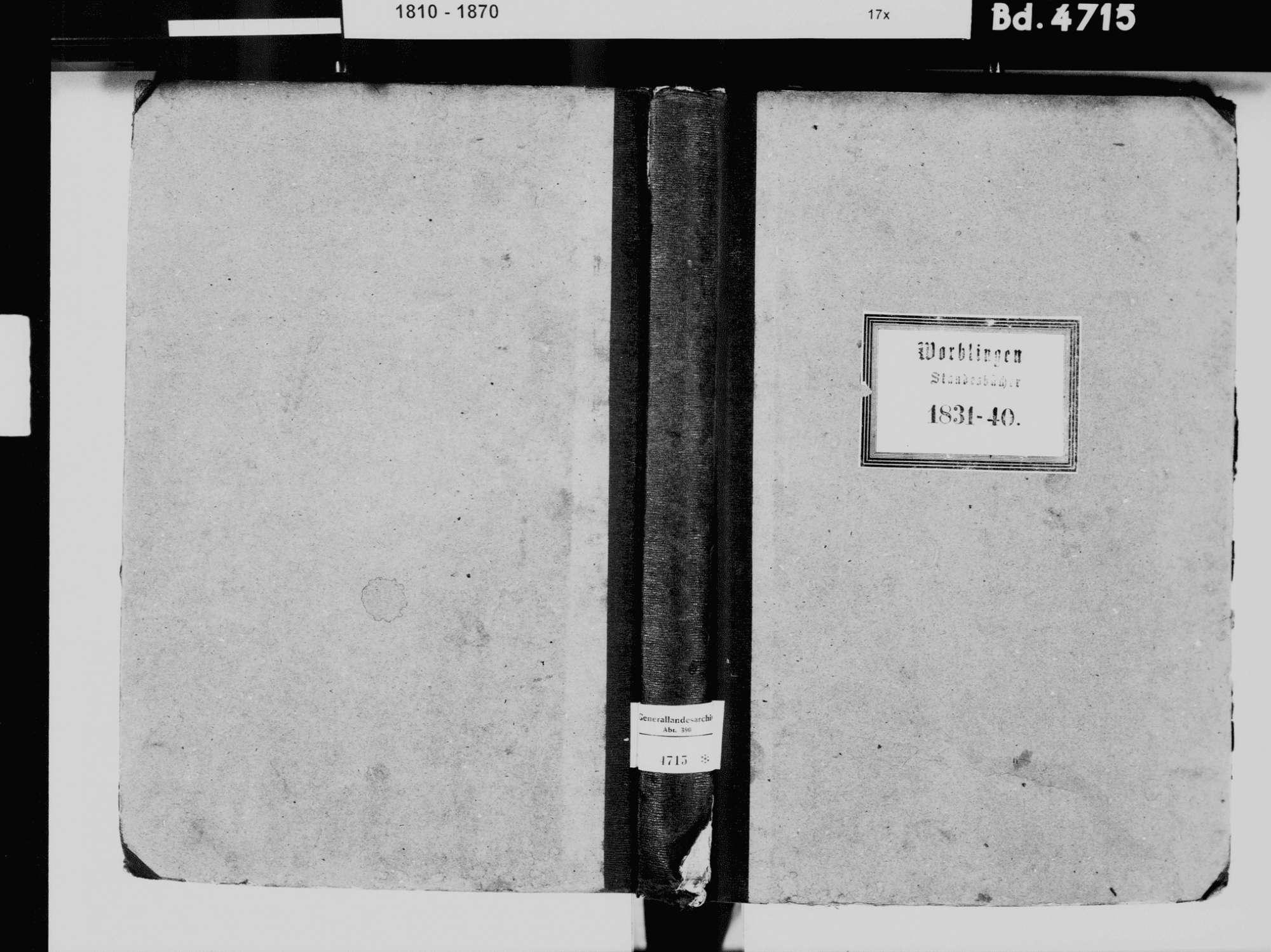 Worblingen, Rielasingen-Worblingen KN; Katholische Gemeinde: Standesbuch 1831-1840 Worblingen, Rielasingen-Worblingen KN; Israelitsche Gemeinde: Standesbuch 1831-1840, Bild 2