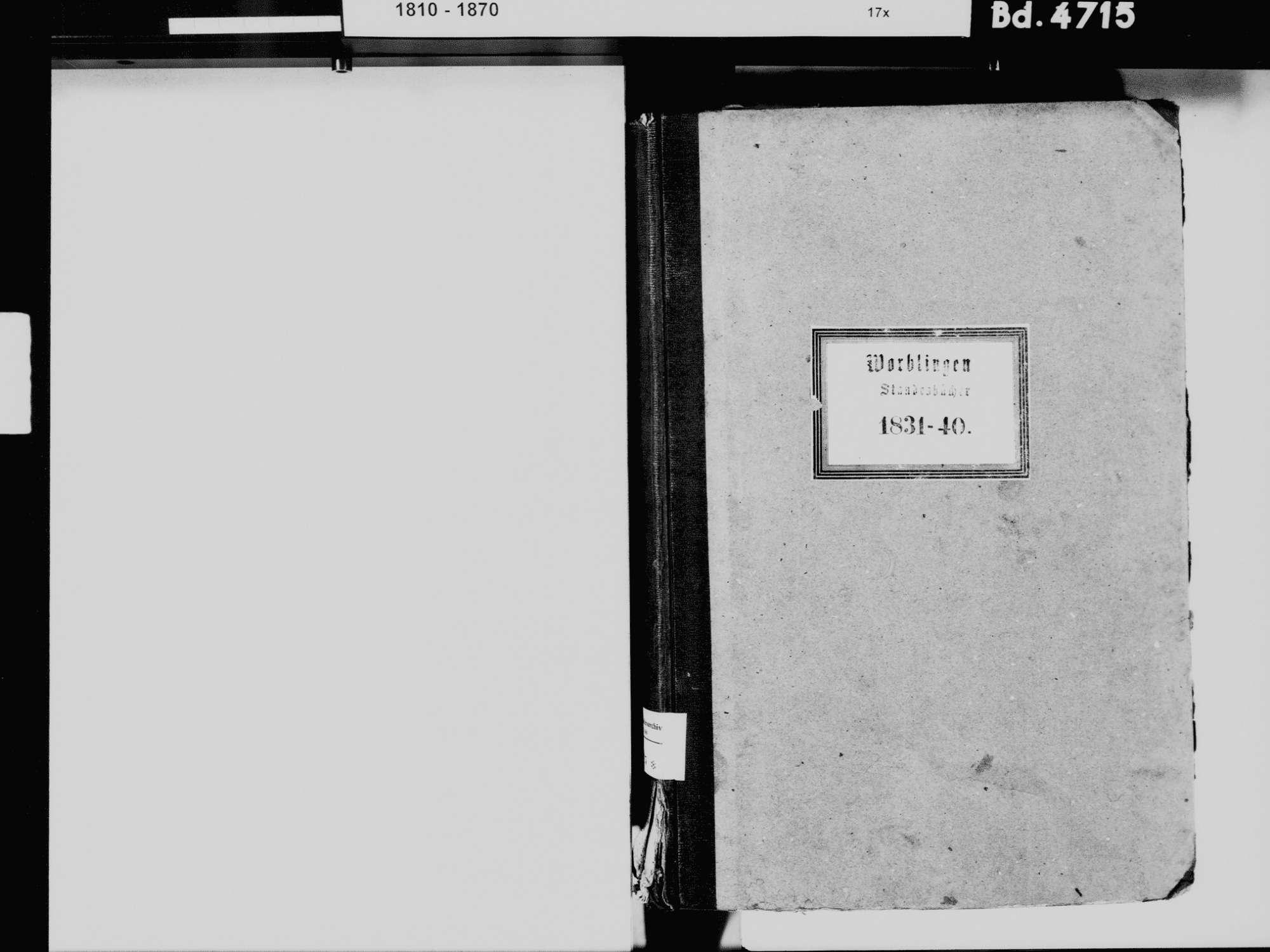 Worblingen, Rielasingen-Worblingen KN; Katholische Gemeinde: Standesbuch 1831-1840 Worblingen, Rielasingen-Worblingen KN; Israelitsche Gemeinde: Standesbuch 1831-1840, Bild 3
