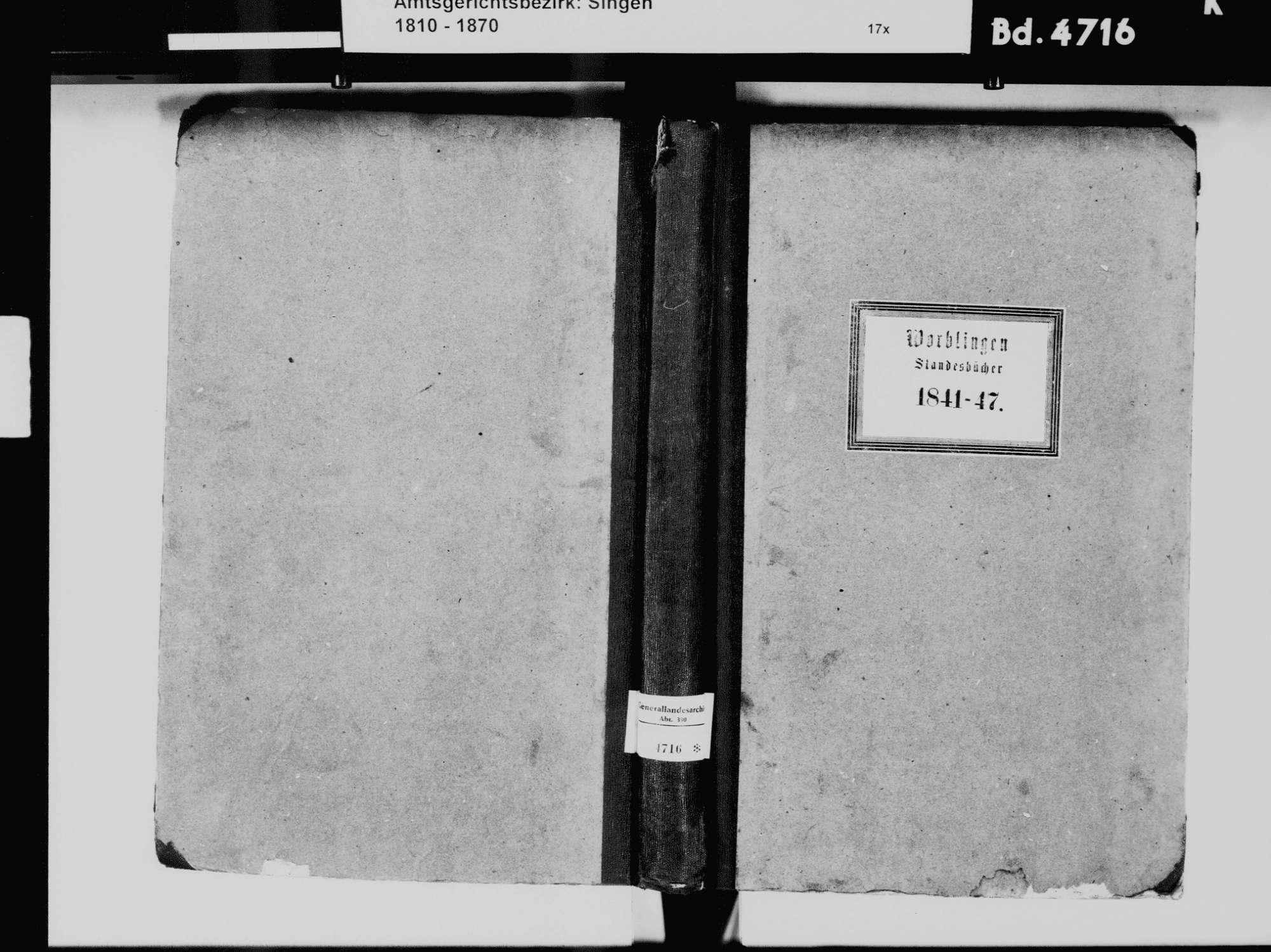 Worblingen, Rielasingen-Worblingen KN; Katholische Gemeinde: Standesbuch 1841-1847 Worblingen, Rielasingen-Worblingen KN; Israelitsche Gemeinde: Standesbuch 1841-1847, Bild 2