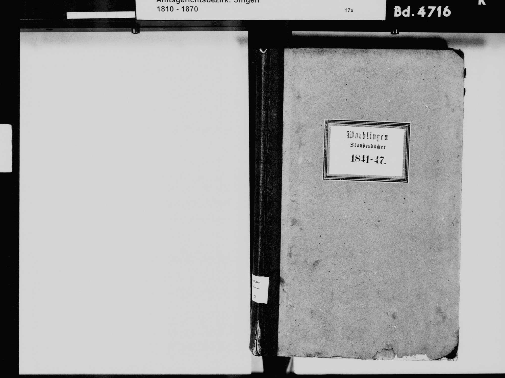 Worblingen, Rielasingen-Worblingen KN; Katholische Gemeinde: Standesbuch 1841-1847 Worblingen, Rielasingen-Worblingen KN; Israelitsche Gemeinde: Standesbuch 1841-1847, Bild 3