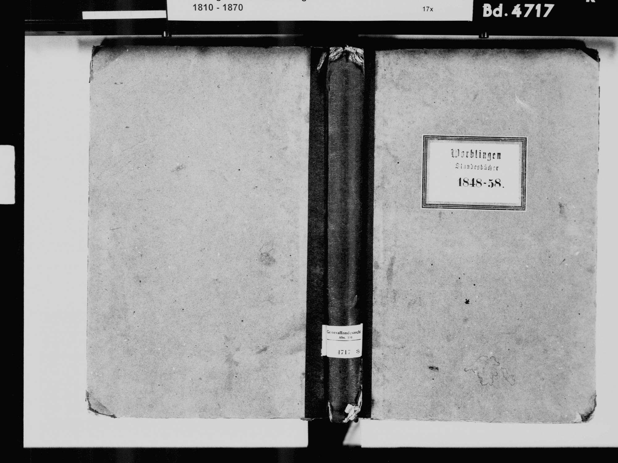 Worblingen, Rielasingen-Worblingen KN; Katholische Gemeinde: Standesbuch 1848-1858 Worblingen, Rielasingen-Worblingen KN; Israelitsche Gemeinde: Standesbuch 1848-1858, Bild 2