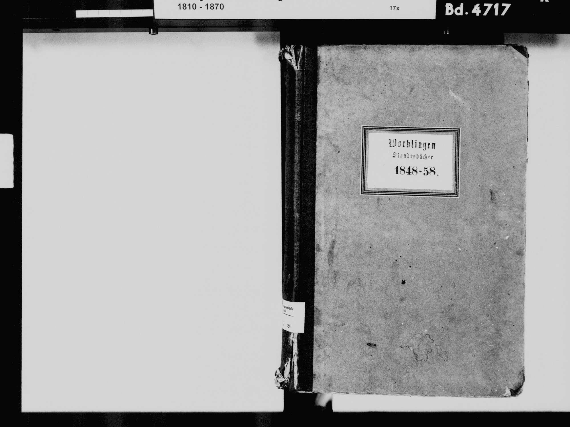 Worblingen, Rielasingen-Worblingen KN; Katholische Gemeinde: Standesbuch 1848-1858 Worblingen, Rielasingen-Worblingen KN; Israelitsche Gemeinde: Standesbuch 1848-1858, Bild 3