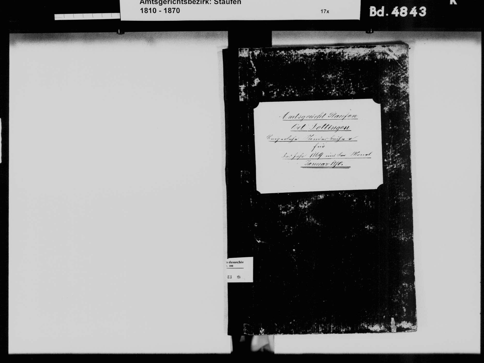 Dottingen, Ballrechten-Dottingen FR; Katholische Gemeinde: Standesbuch 1869-1870, Bild 3