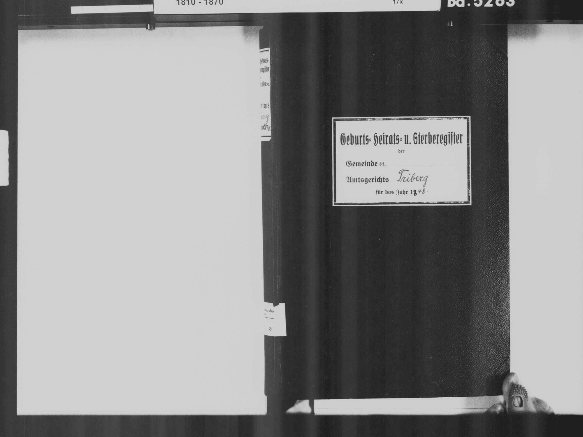 Triberg im Schwarzwald VS; Katholische Gemeinde: Standesbuch 1848, Bild 3