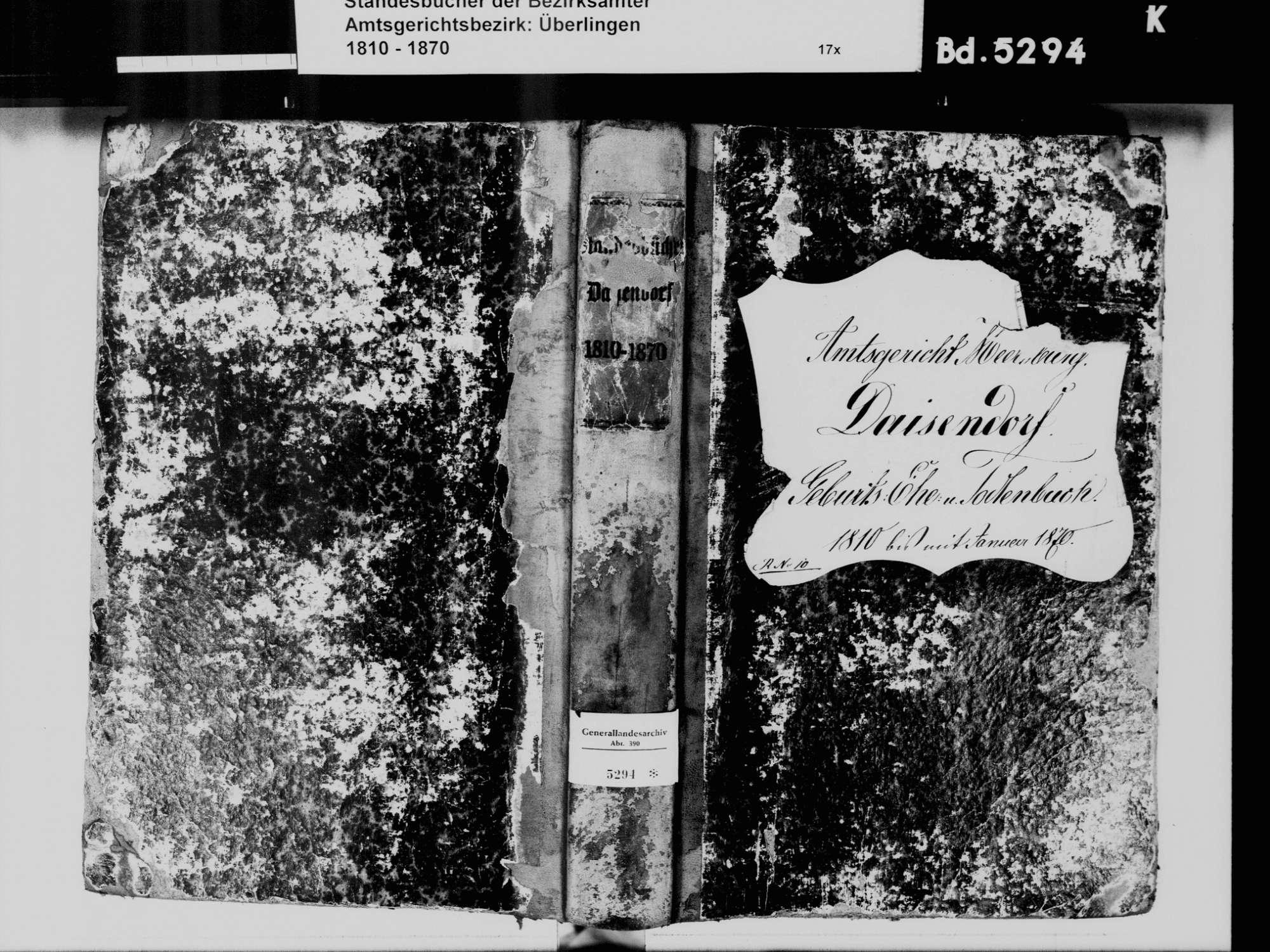 Daisendorf FN, Katholische Gemeinde: Standesbuch 1810-1870, Bild 2