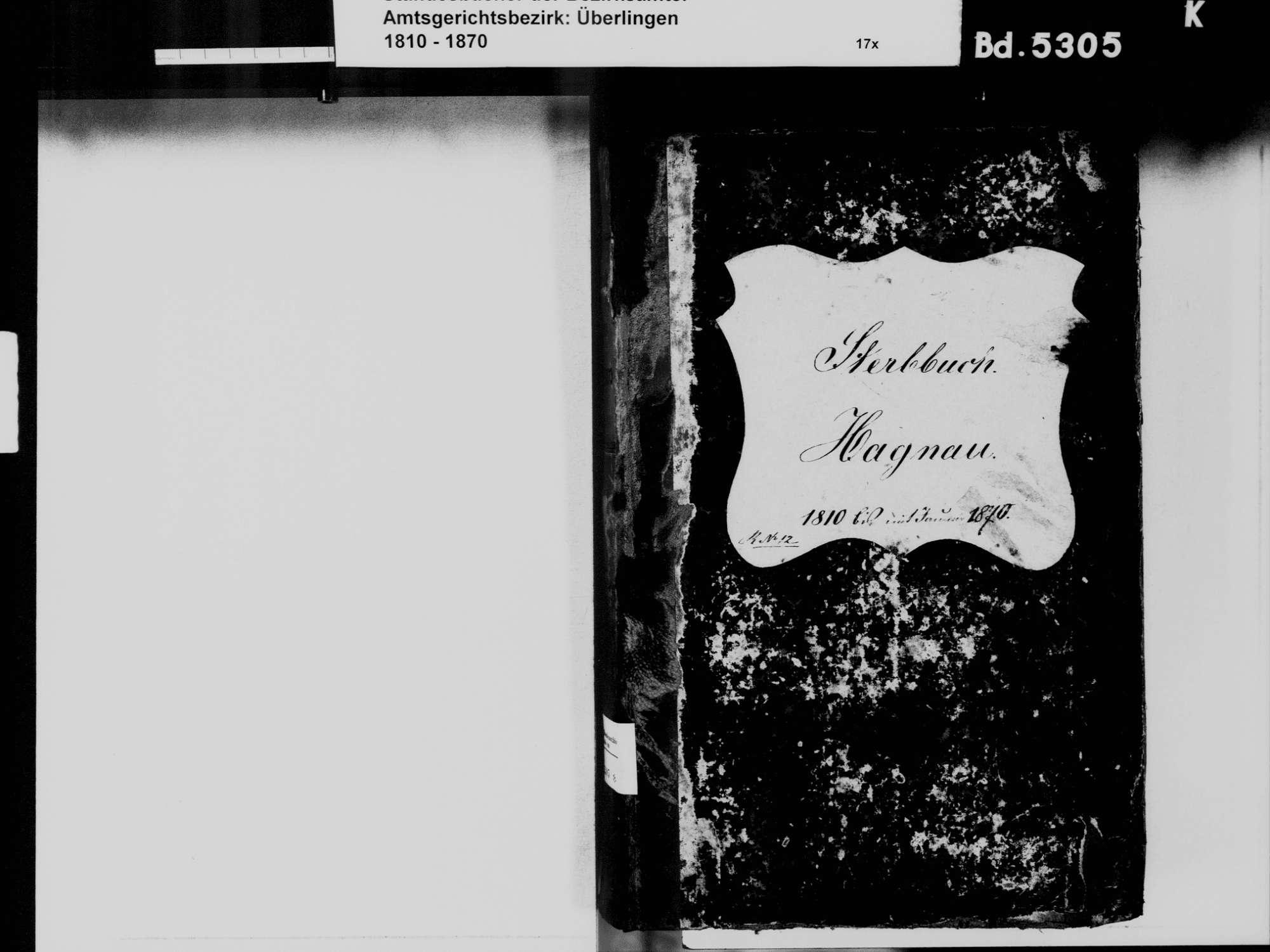 Hagnau am Bodensee FN; Katholische Gemeinde: Sterbebuch 1810-1870, Bild 3