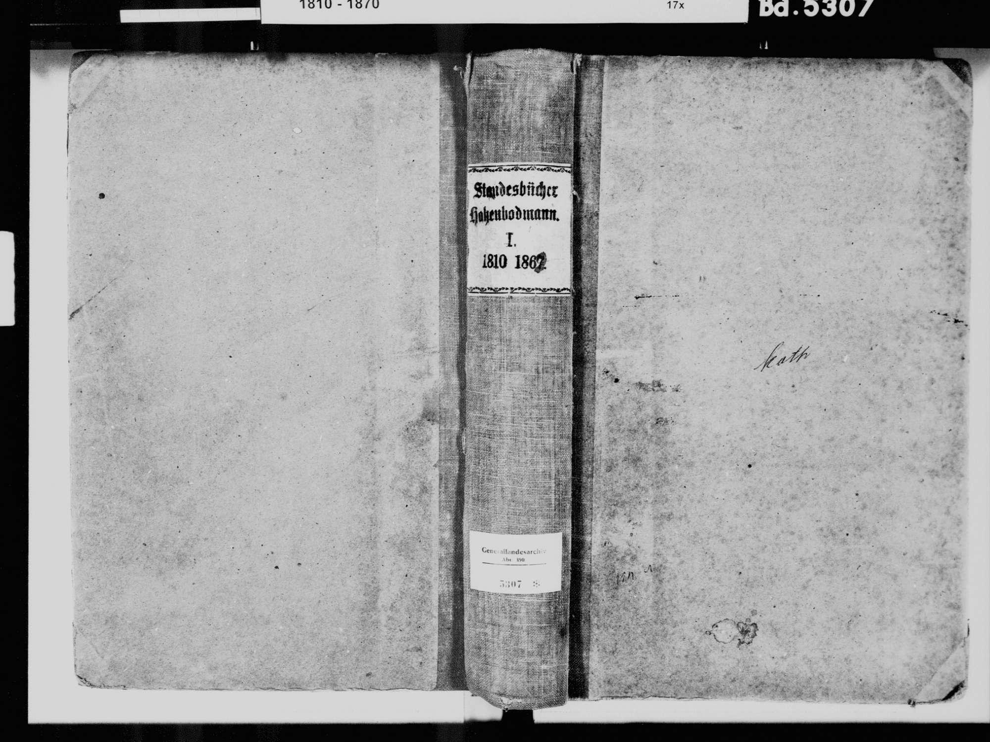 Hohenbodman, Owingen FN; Katholische Gemeinde: Standesbuch 1810-1869, Bild 2