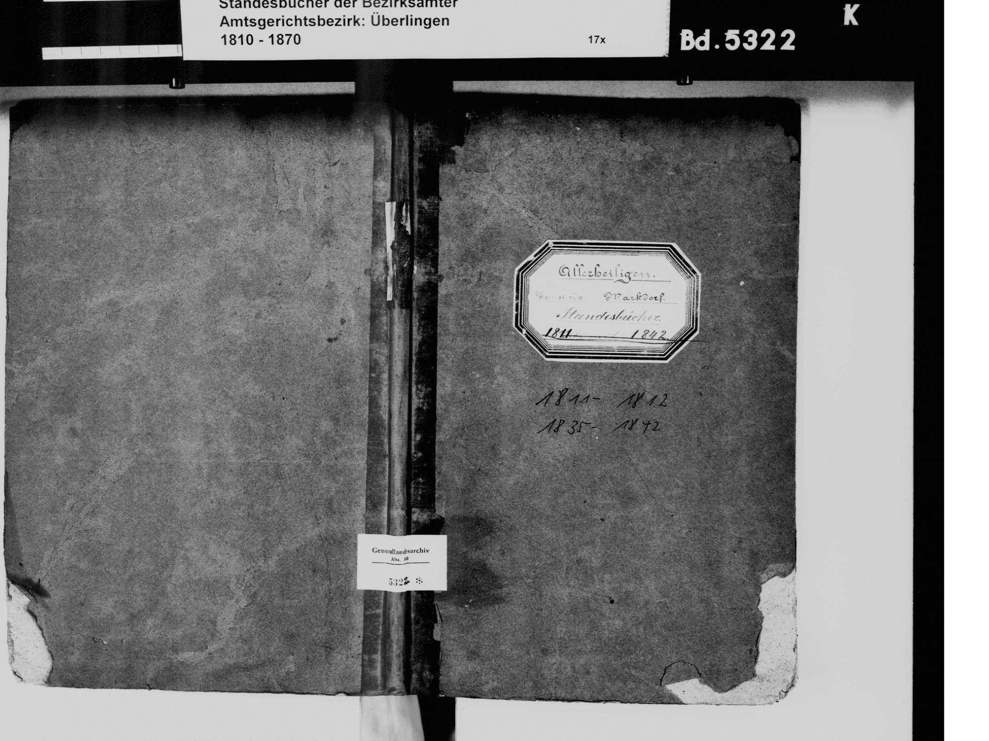 Allerheiligen, Markdorf FN; Katholische Gemeinde: Standesbuch 1811-1812, 1835-1842, Bild 2