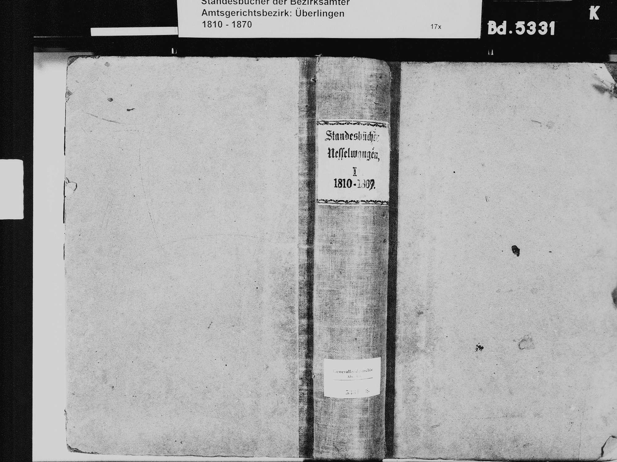 Nesselwangen, Überlingen FN; Katholische Gemeinde: Standesbuch 1810-1869, Bild 2