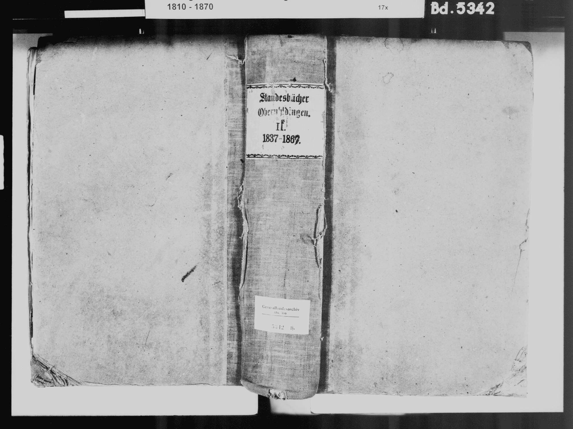 Oberuhldingen, Uhldingen-Mühlhofen FN; Katholische Gemeinde: Standesbuch 1837-1869 [1837-1839 fehlen], Bild 2