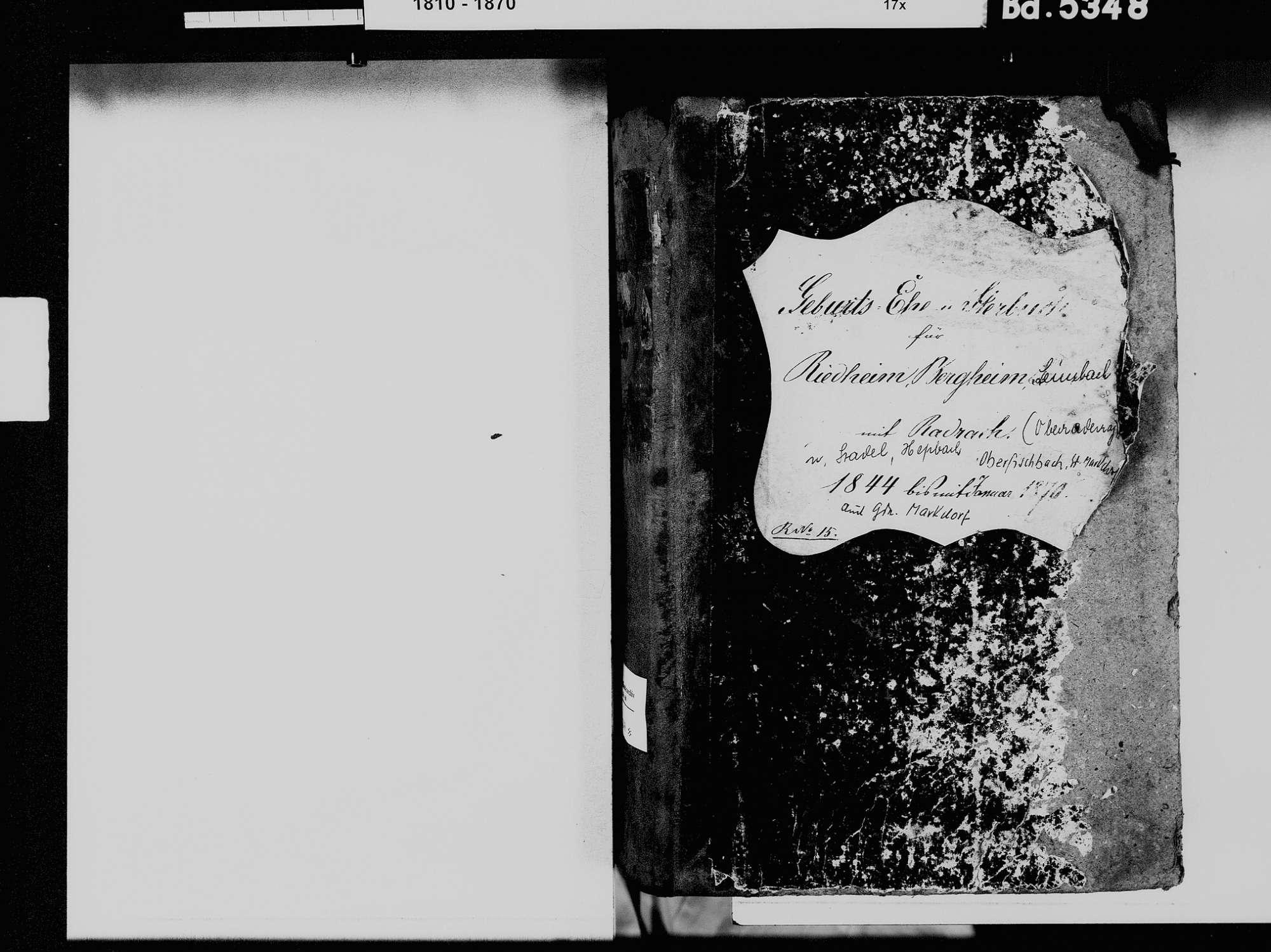 Riedheim, Markdorf FN; Katholische Gemeinde: Standesbuch 1844-1870, Bild 3