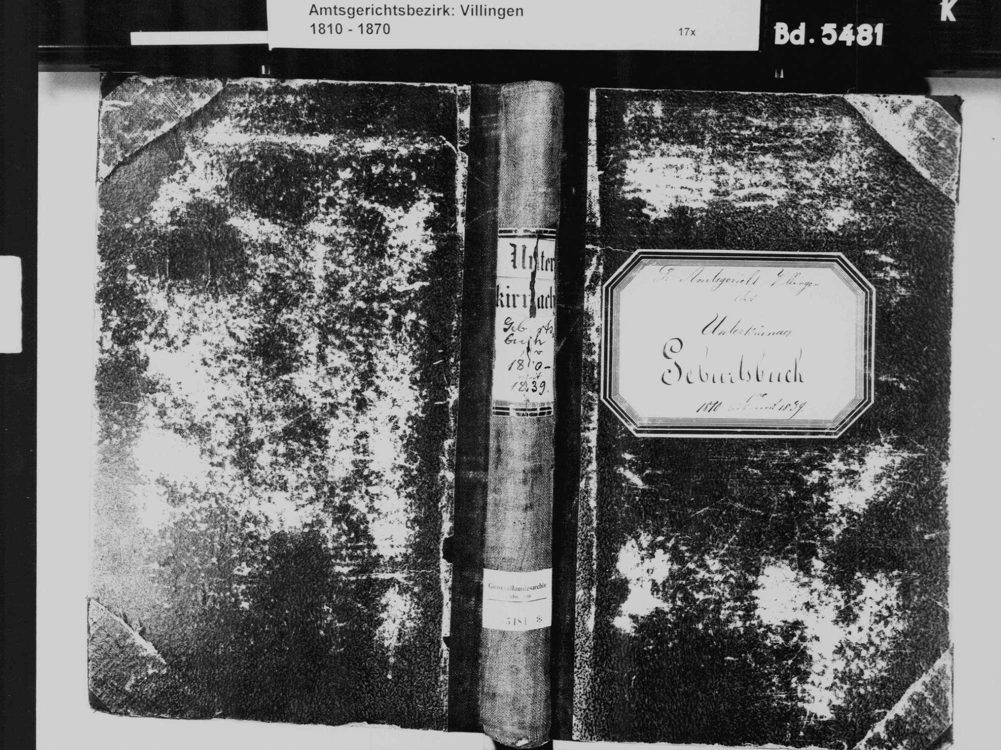 Unterkirnach VS; Katholische Gemeinde: Geburtenbuch 1810-1839, Bild 2