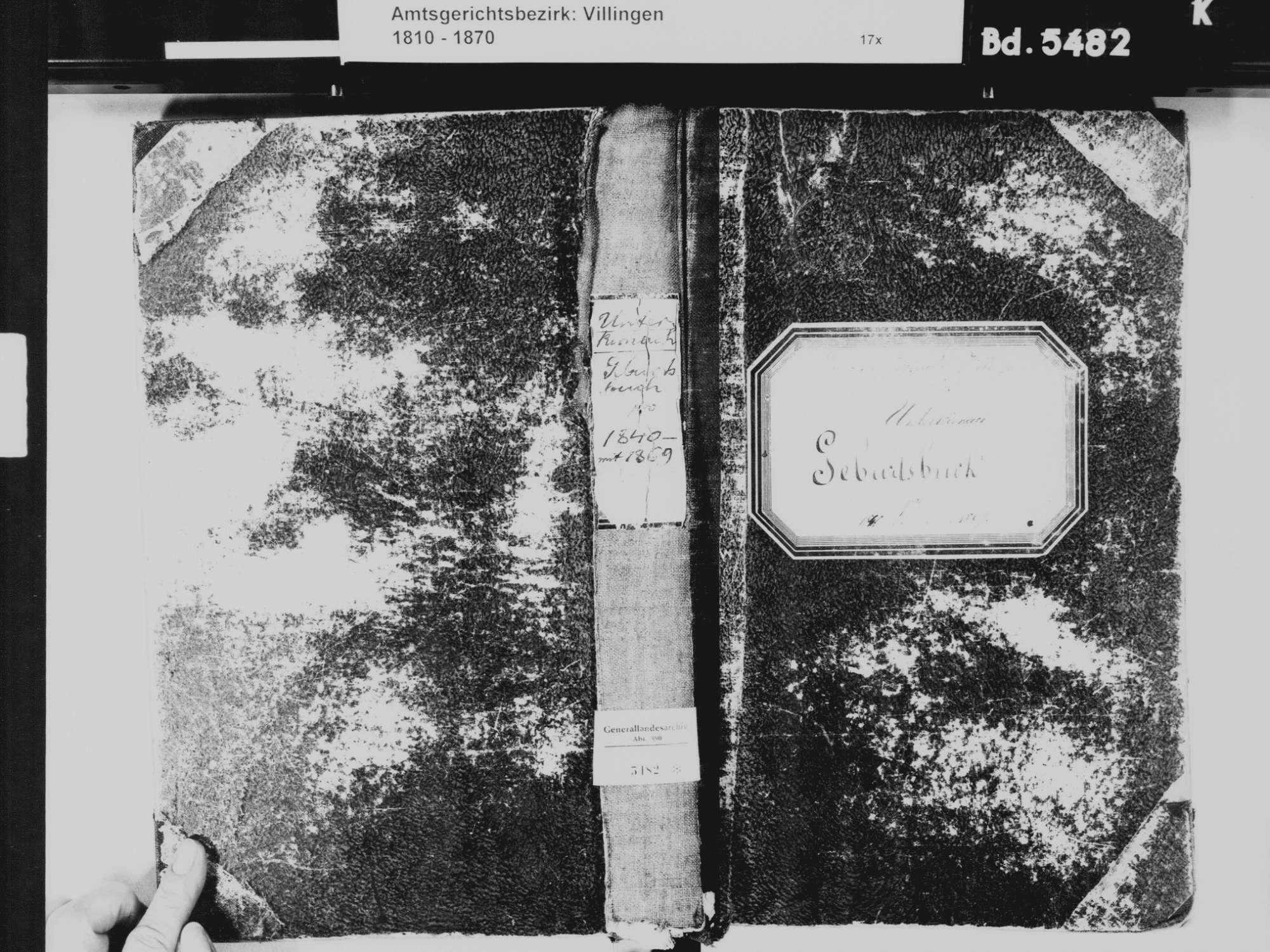 Unterkirnach VS; Katholische Gemeinde: Geburtenbuch 1840-1869, Bild 2