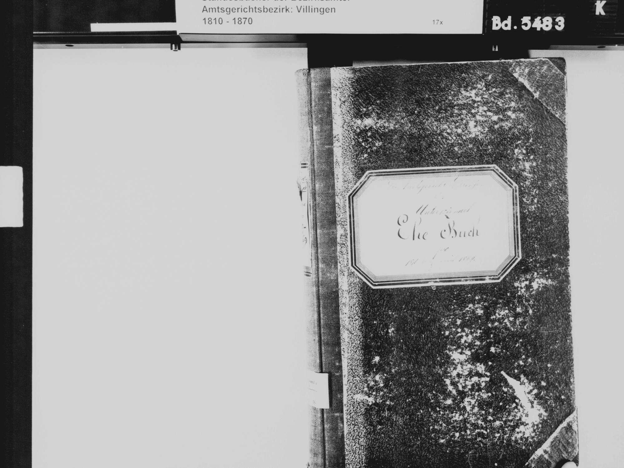 Unterkirnach VS; Katholische Gemeinde: Heiratsbuch 1810-1869, Bild 3