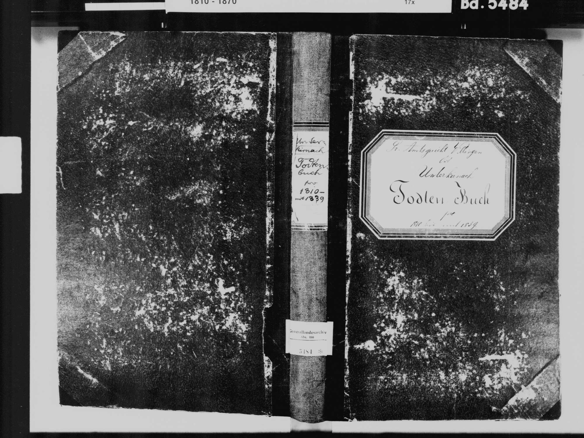 Unterkirnach VS; Katholische Gemeinde: Sterbebuch 1810-1839, Bild 2