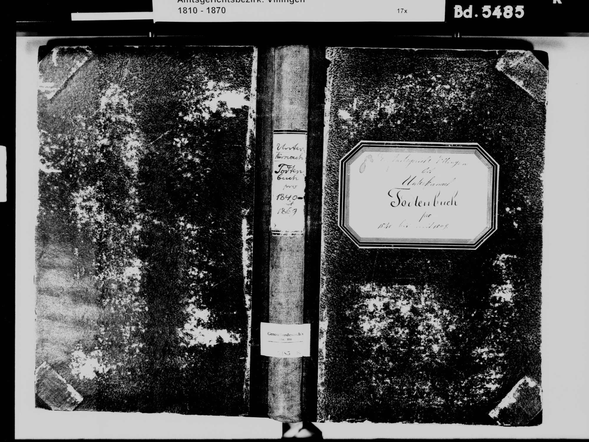 Unterkirnach VS; Katholische Gemeinde: Sterbebuch 1840-1869, Bild 2