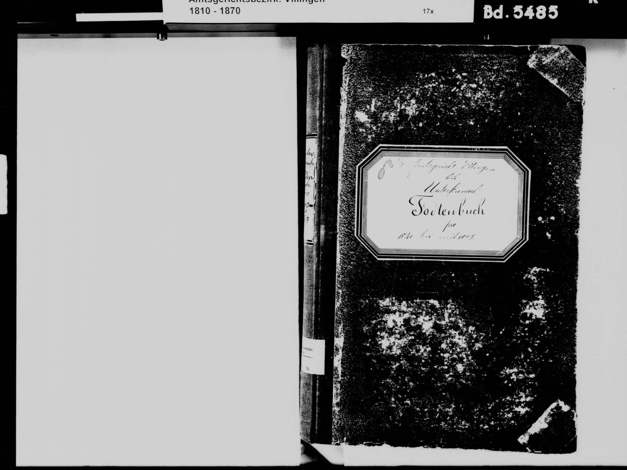 Unterkirnach VS; Katholische Gemeinde: Sterbebuch 1840-1869, Bild 3